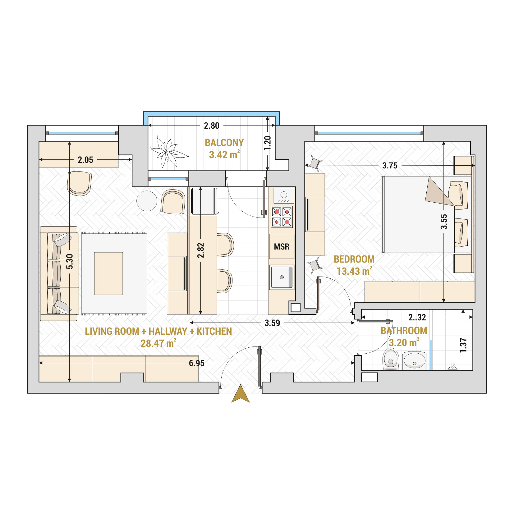 Catedral Residence - 2 Room Apartment for Sale - Bucharest - Romania - Type 1 – S1A