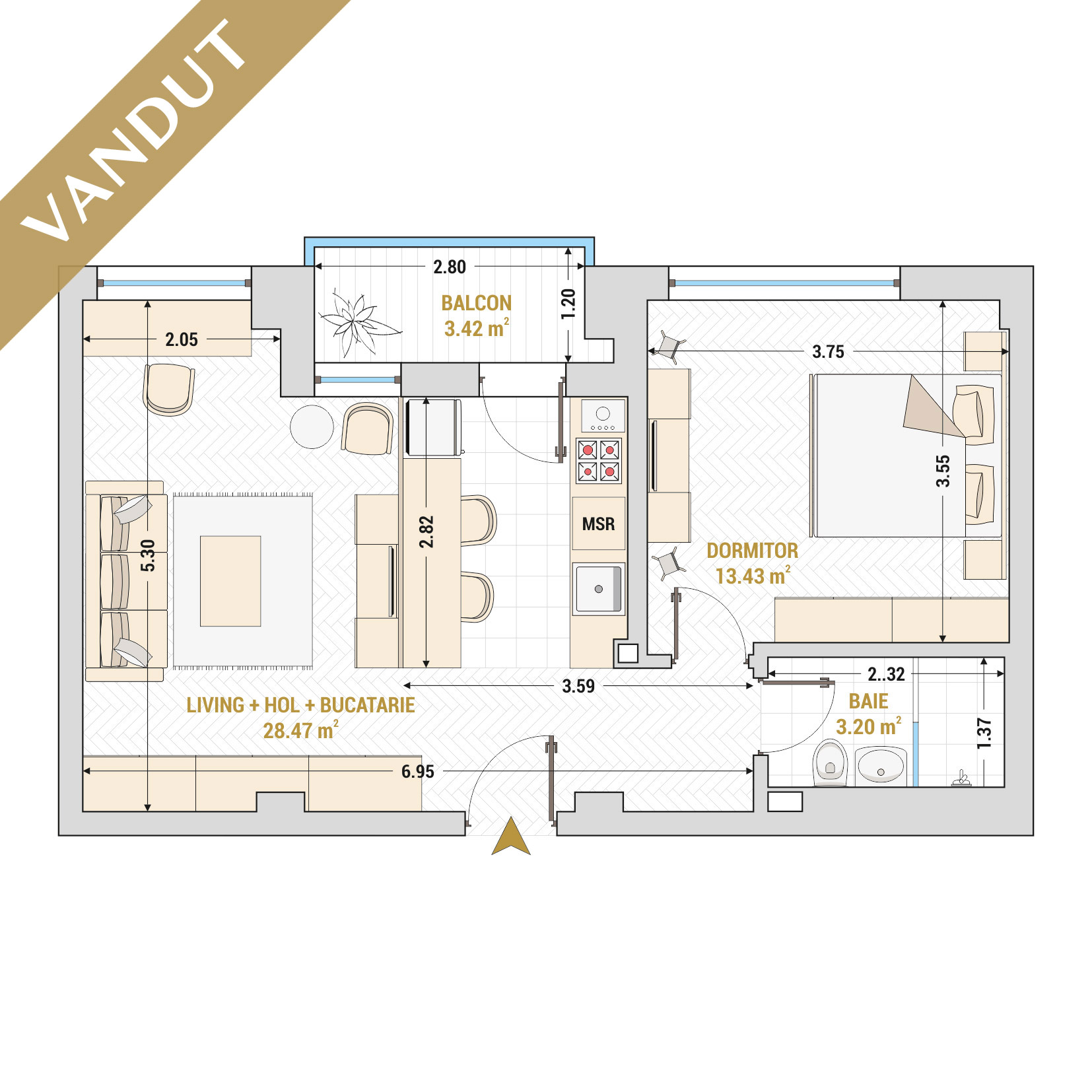 Apartamente cu 2 camere de vanzare Bucuresti - Catedral Residence - Marriott, Piata Unirii, 13 Septembrie, Izvor - Tip 1 - T1A - VANDUT