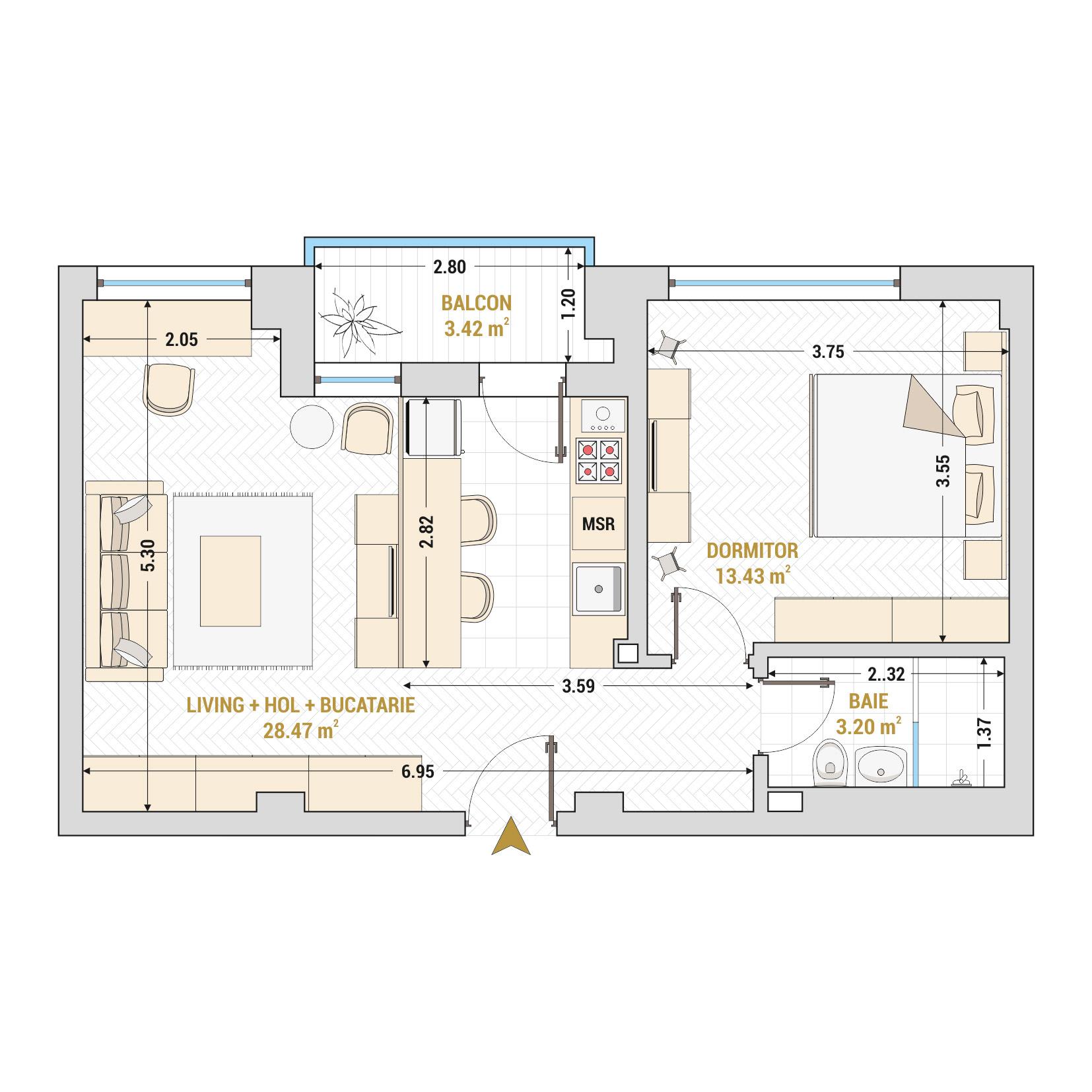 Apartamente cu 2 camere de vanzare Bucuresti - Catedral Residence - Marriott, Piata Unirii, 13 Septembrie, Izvor - Tip 1 - T1A