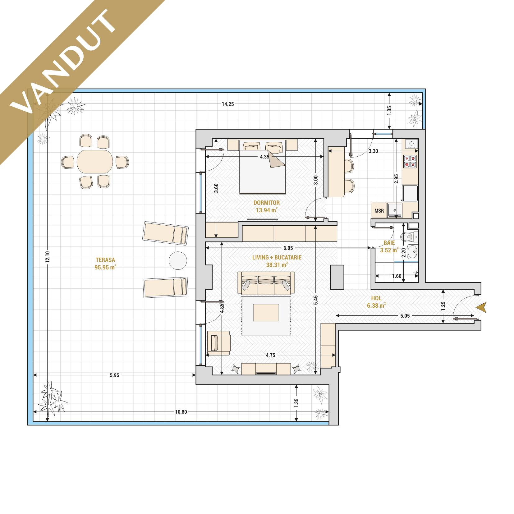 Apartamente cu 2 camere de vanzare Bucuresti - Catedral Residence - Marriott, Piata Unirii, 13 Septembrie, Izvor - Tip 10 - T1A - V
