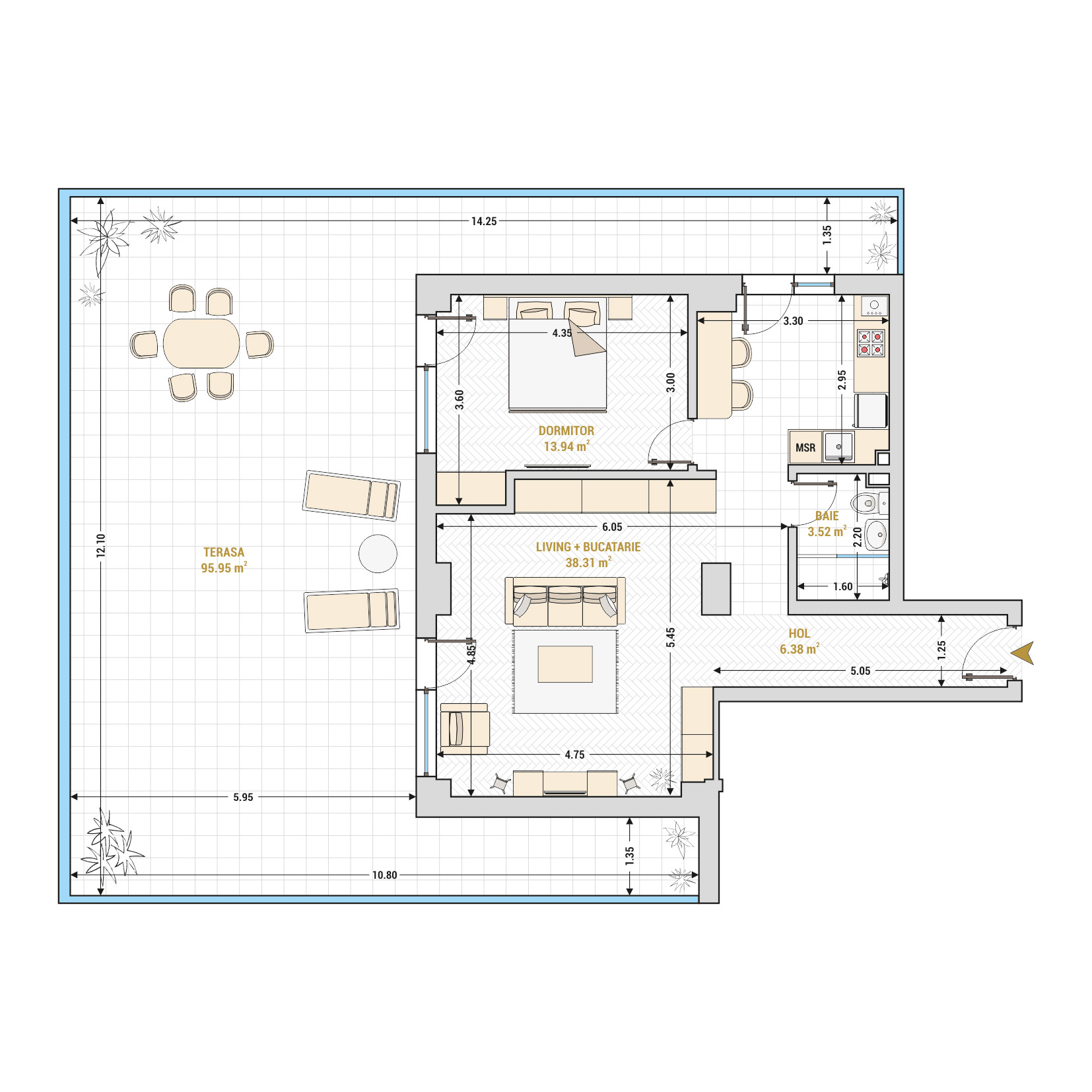 Apartamente cu 2 camere de vanzare Bucuresti - Catedral Residence - Marriott, Piata Unirii, 13 Septembrie, Izvor - Tip 10 - T1A