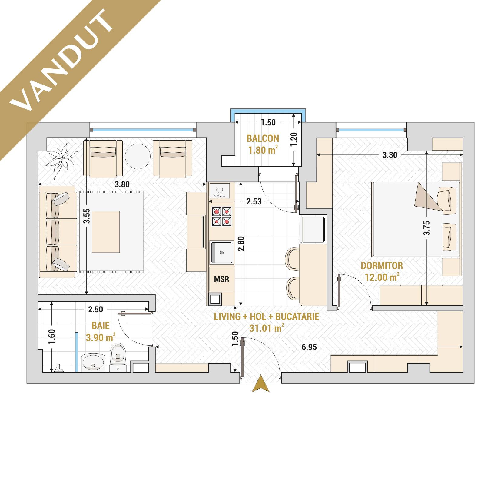 Apartamente cu 2 camere de vanzare Bucuresti - Catedral Residence - Marriott, Piata Unirii, 13 Septembrie, Izvor - Tip 2 - T1A - VANDUT