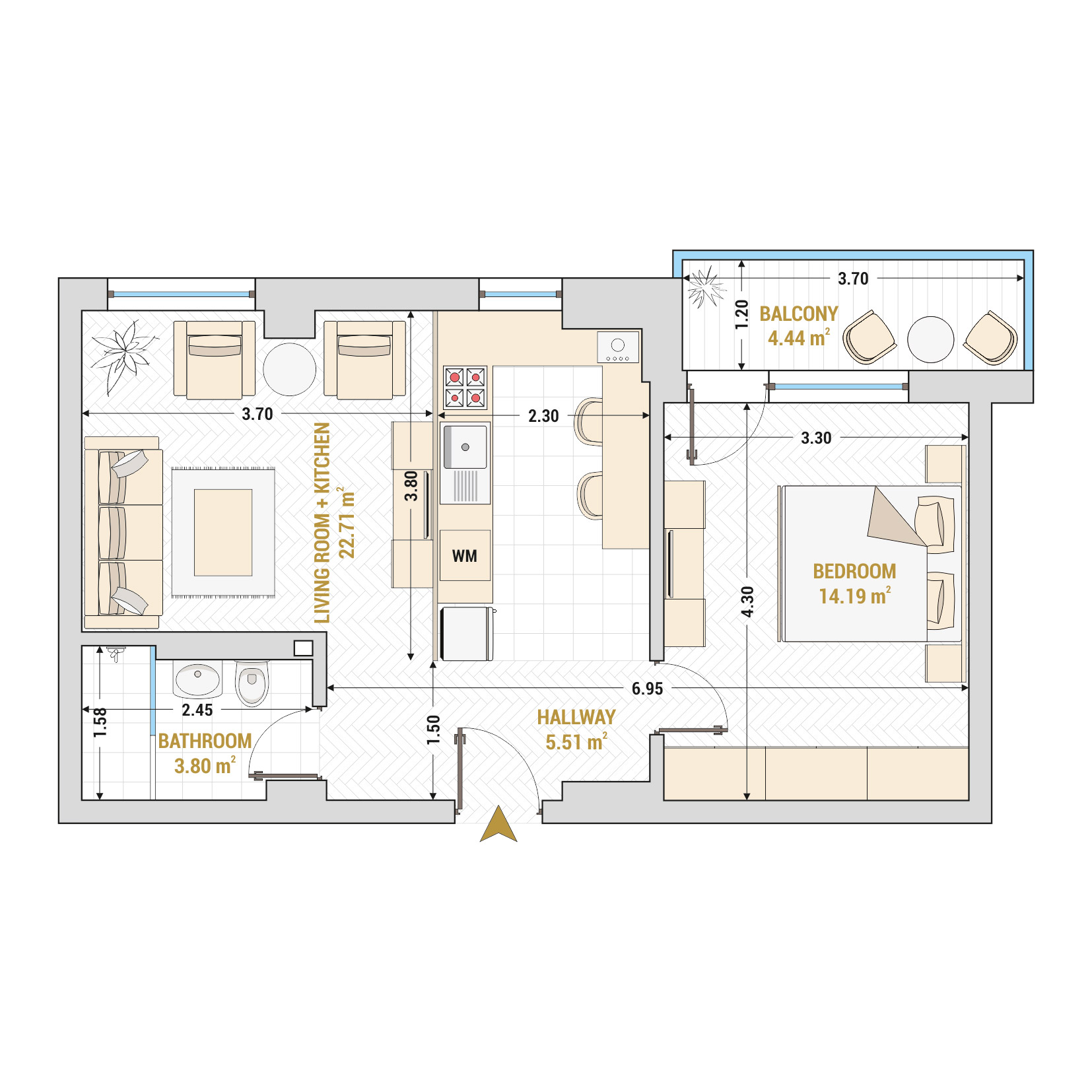 Catedral Residence - 2 Room Apartment for Sale - Bucharest - Romania - Type 3 – S1A