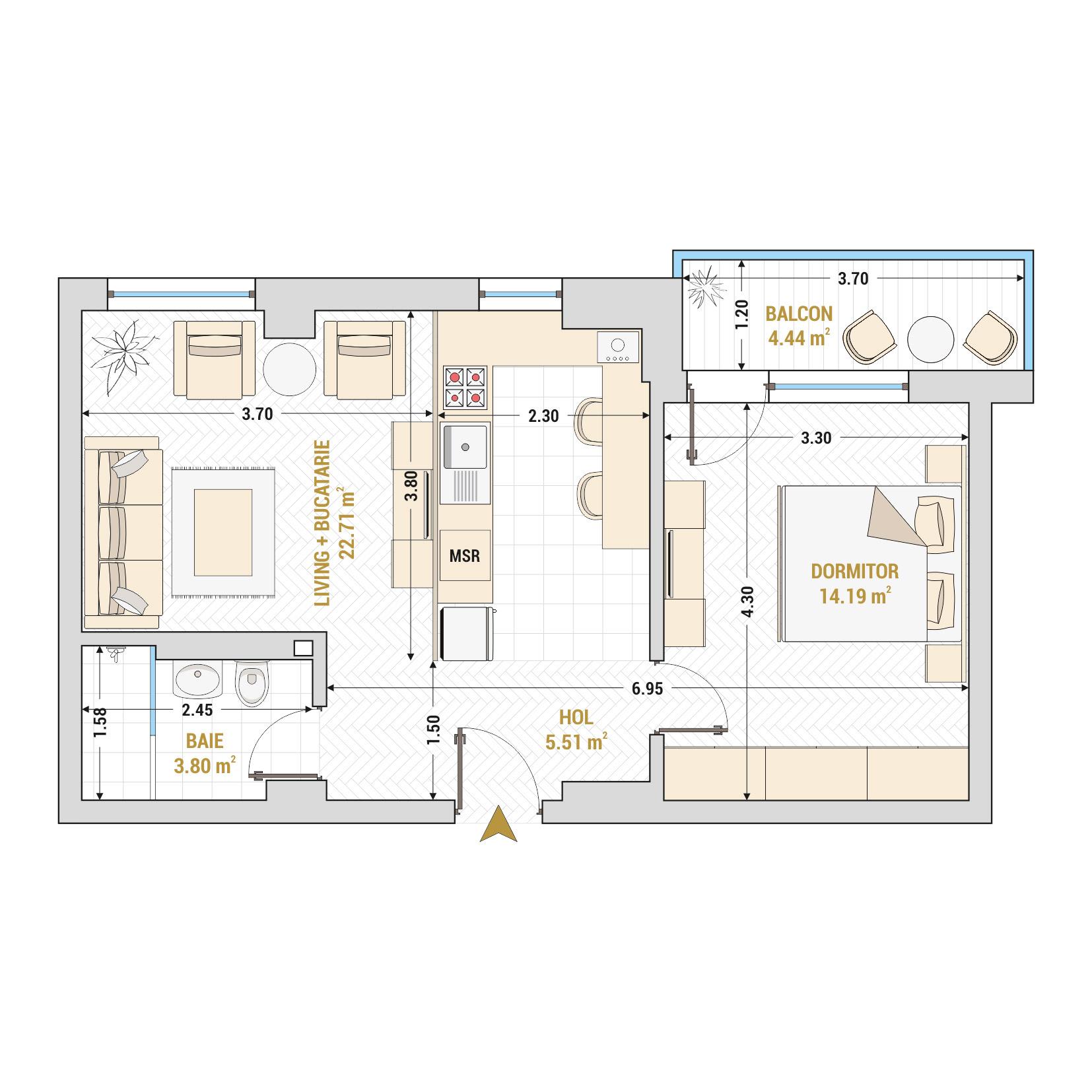 Apartamente cu 2 camere de vanzare Bucuresti - Catedral Residence - Marriott, Piata Unirii, 13 Septembrie, Izvor - Tip 3 - T1A