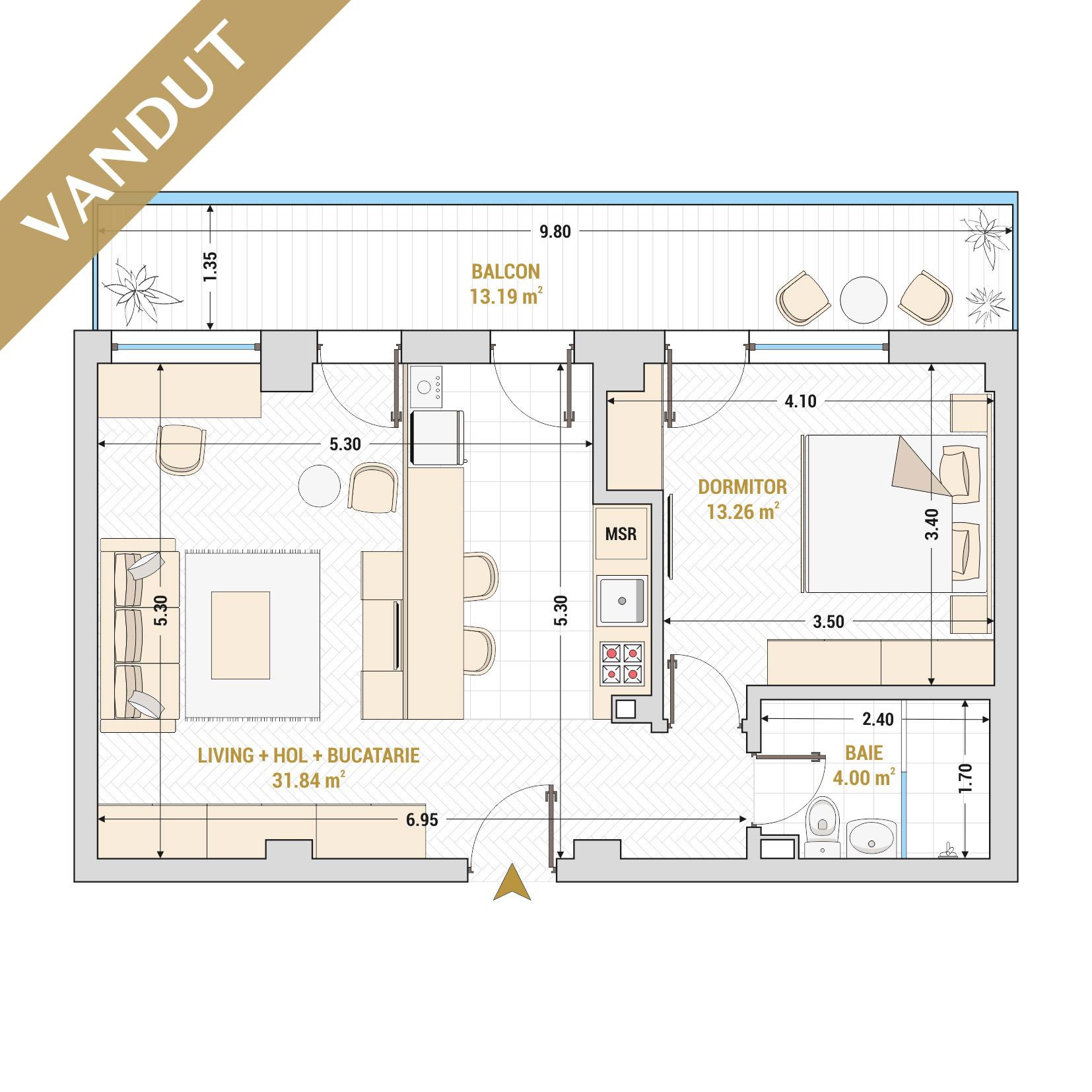 Apartamente cu 2 camere de vanzare Bucuresti - Catedral Residence - Marriott, Piata Unirii, 13 Septembrie, Izvor - Tip 4 - T1A