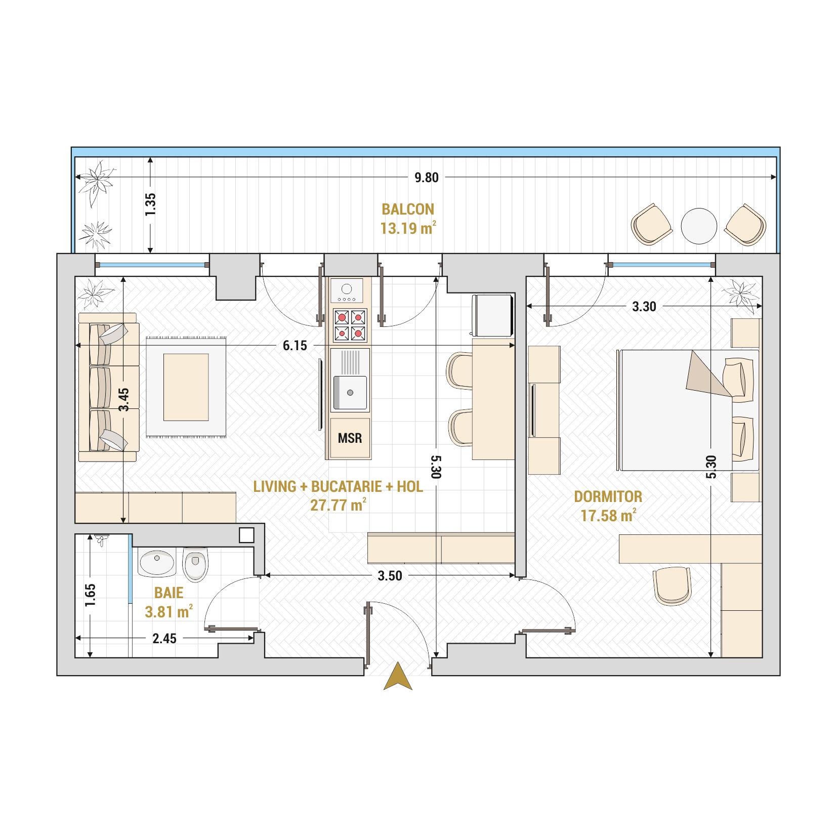 Apartamente cu 2 camere de vanzare Bucuresti - Catedral Residence - Marriott, Piata Unirii, 13 Septembrie, Izvor - Tip 5 - T1A
