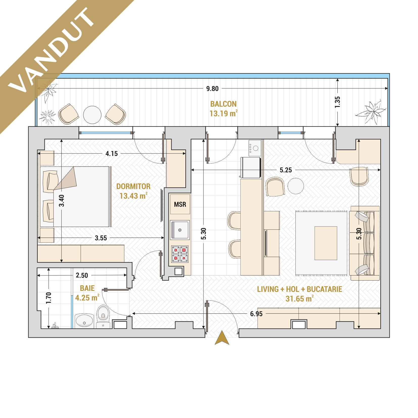 Apartamente cu 2 camere de vanzare Bucuresti - Catedral Residence - Marriott, Piata Unirii, 13 Septembrie, Izvor - Tip 6 - T1A - V