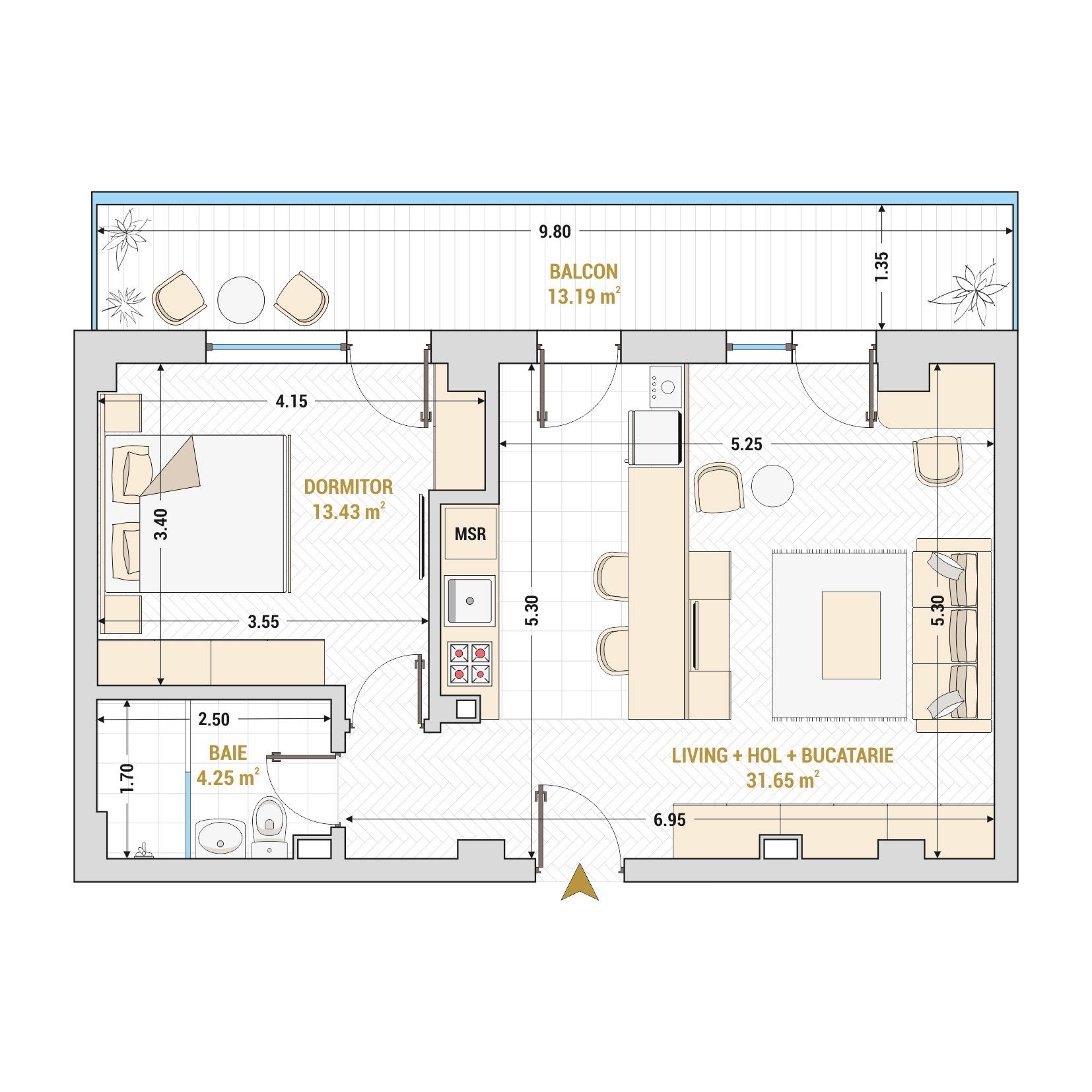 Apartamente cu 2 camere de vanzare Bucuresti - Catedral Residence - Marriott, Piata Unirii, 13 Septembrie, Izvor - Tip 6 - T1A