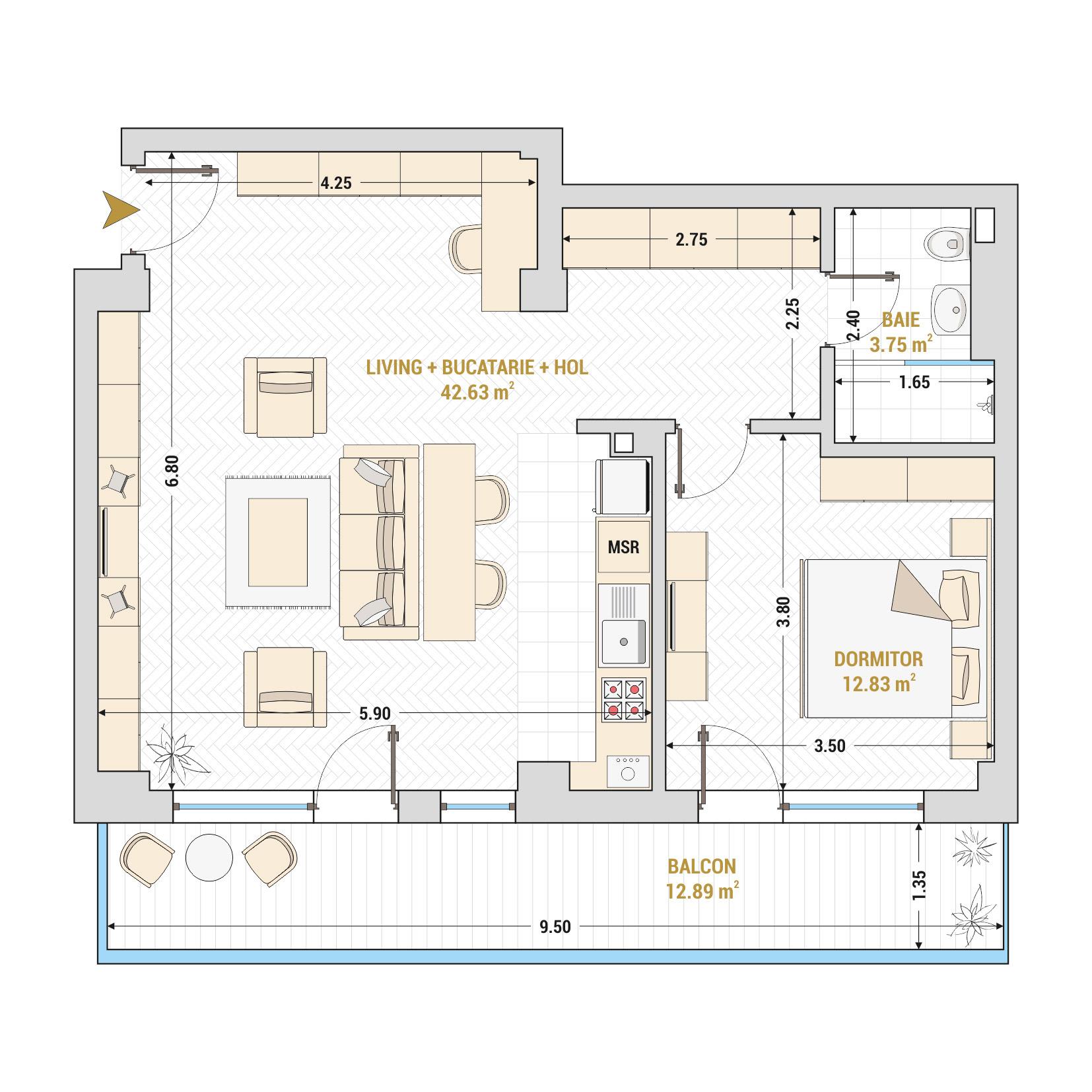 Apartamente cu 2 camere de vanzare Bucuresti - Catedral Residence - Marriott, Piata Unirii, 13 Septembrie, Izvor - Tip 7 - T1A