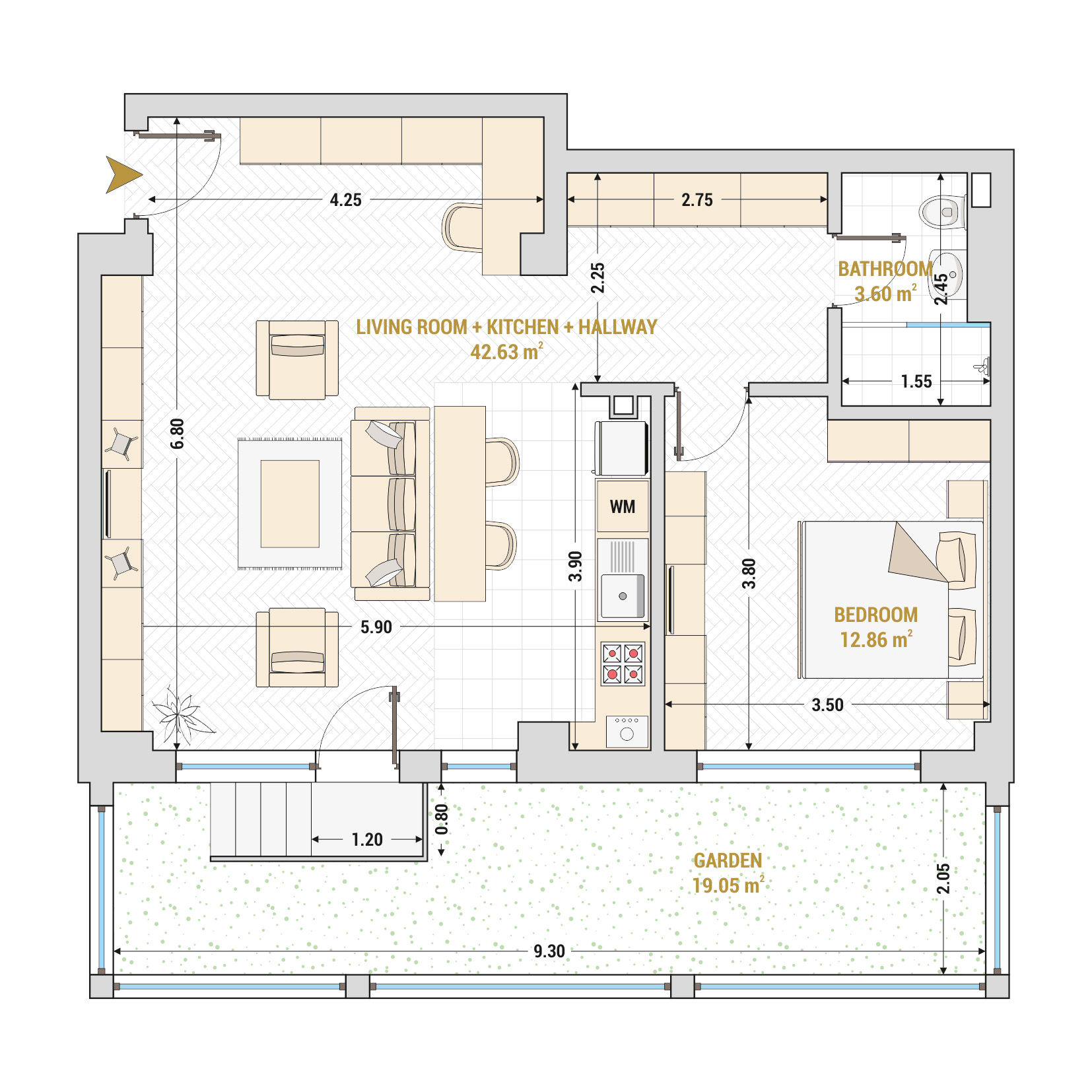 Catedral Residence - 2 Room Apartment for Sale - Bucharest - Romania - Type 8 – S1A