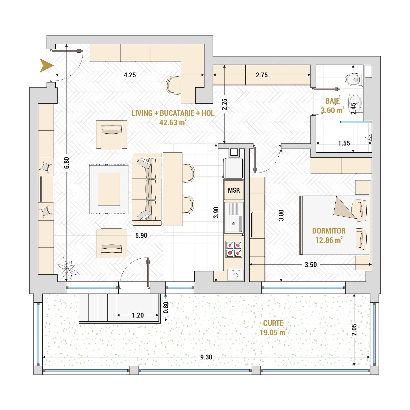 Apartamente cu 2 camere de vanzare Bucuresti - Catedral Residence - Marriott, Piata Unirii, 13 Septembrie, Izvor - Tip 8 - T1A