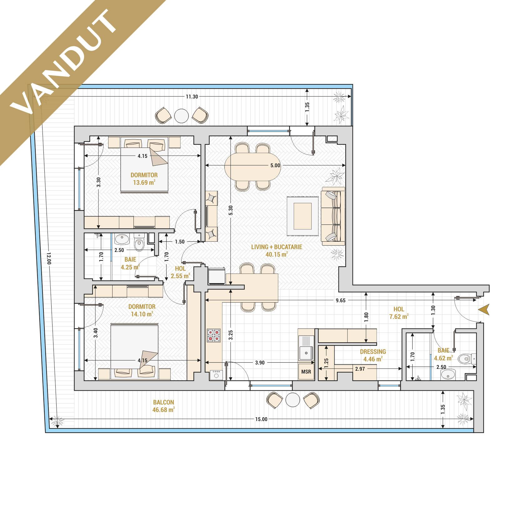 Apartamente cu 3 camere de vanzare Bucuresti - Catedral Residence - Marriott, Piata Unirii, 13 Septembrie, Izvor - Tip 1 - T1A