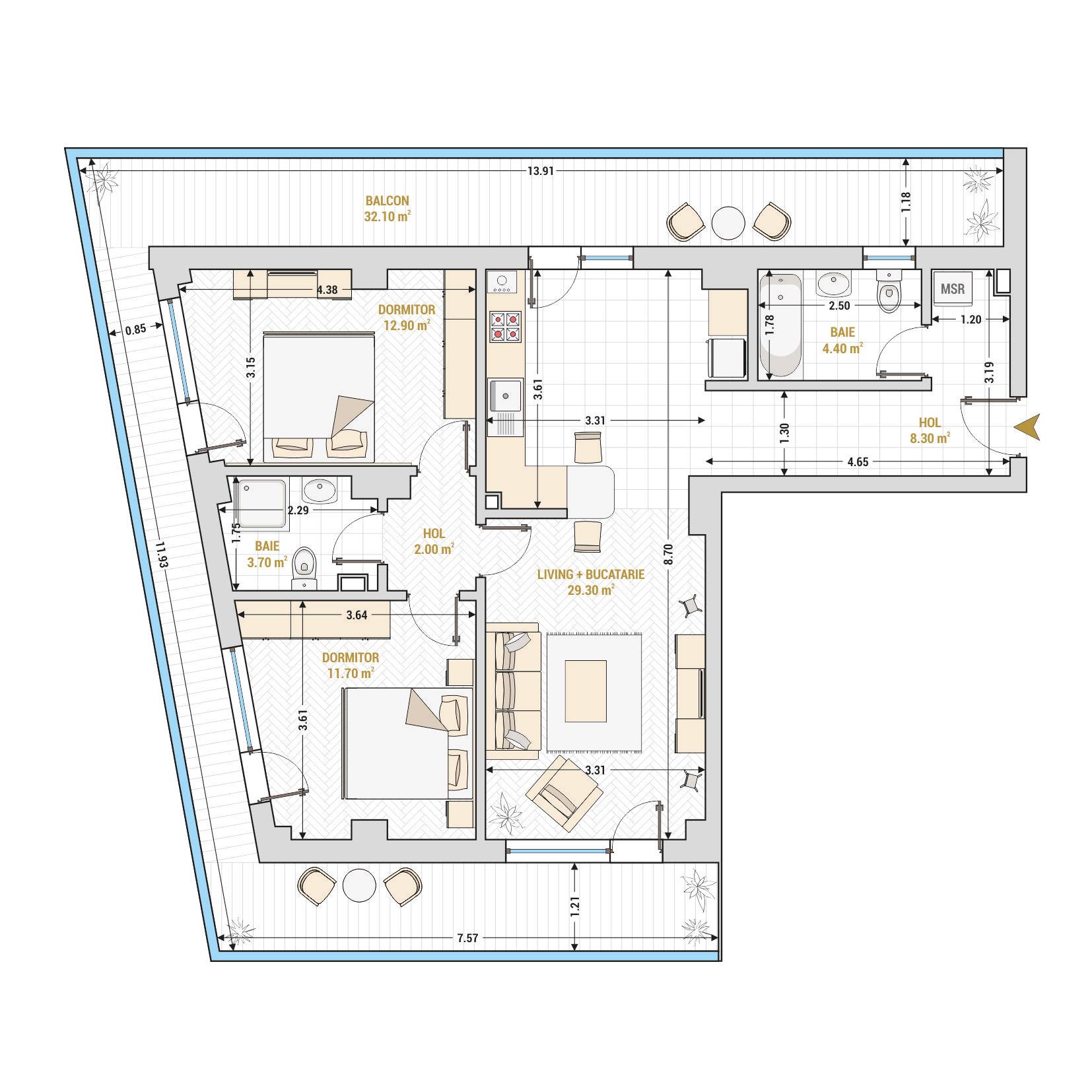 Apartamente cu 3 camere Bucuresti - Catedral Residence - Marriott, Piata Unirii, 13 Septembrie, Izvor - Suprafata utila totala - 104.40 mp