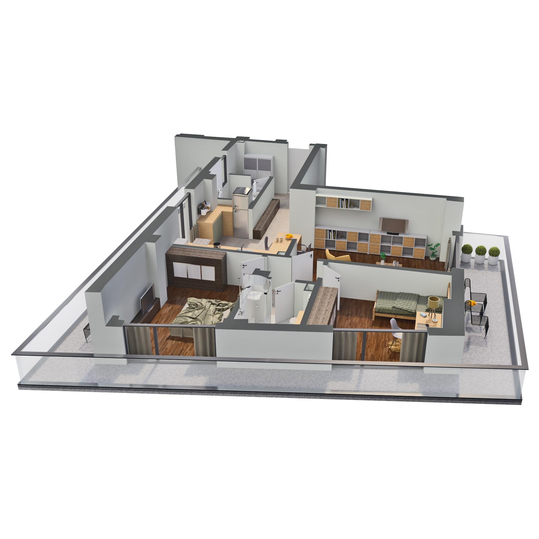 Apartament 3 camere de vanzare Bucuresti - Catedral Residence - Marriott, Piata Unirii, 13 Septembrie, Izvor - Tip 1 - T1 - C