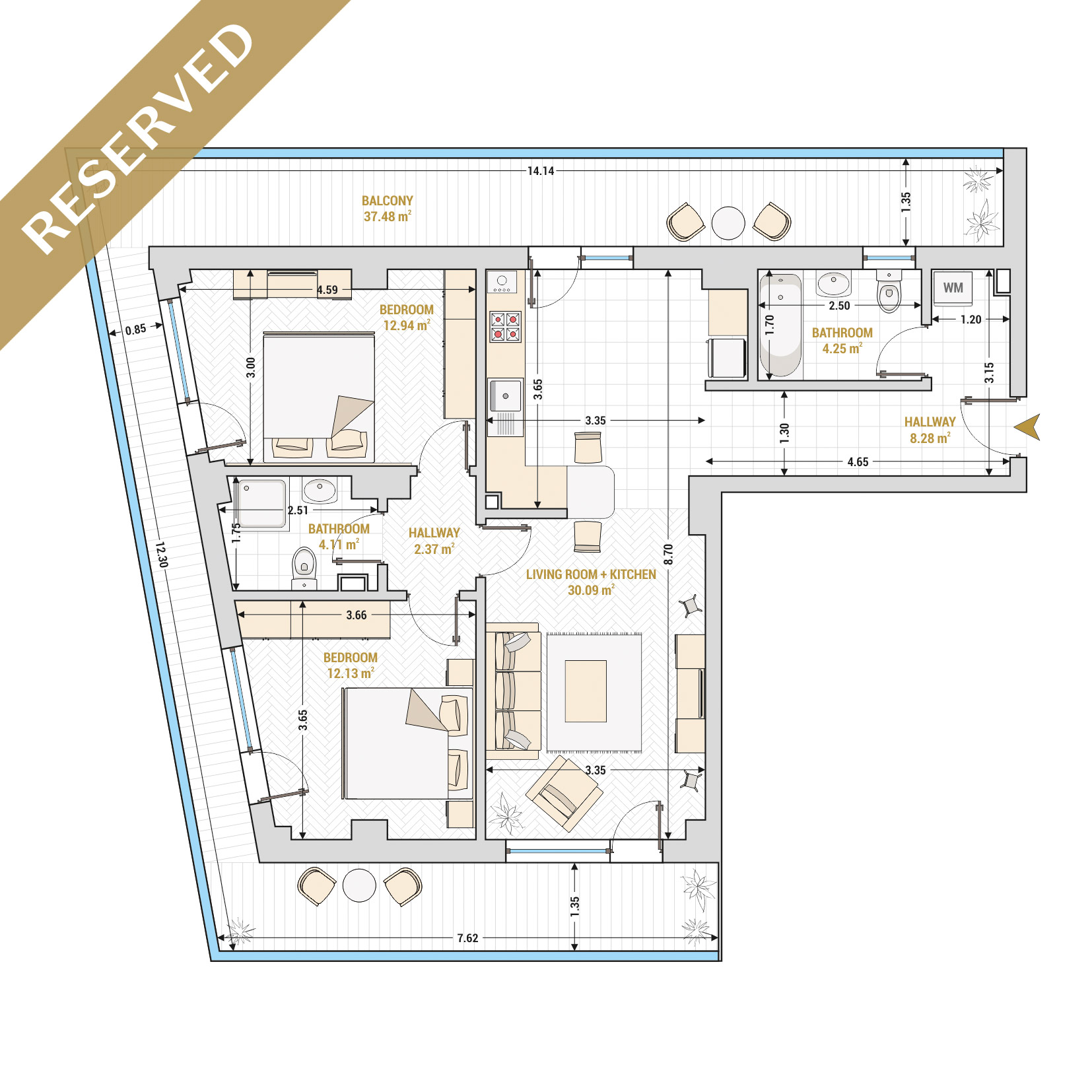 Catedral Residence - 3 Room Apartment for Sale - Bucharest - Romania - Type 1 – S1 - R