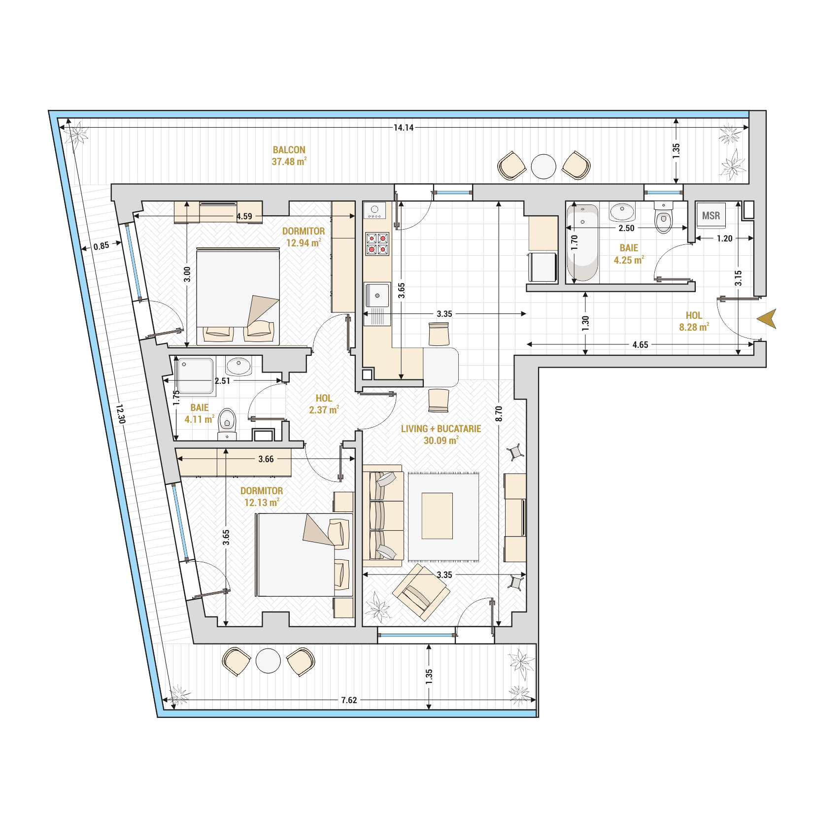 Apartament 3 camere de vanzare Bucuresti - Catedral Residence - Marriott, Piata Unirii, 13 Septembrie, Izvor - Tip 1 - T1