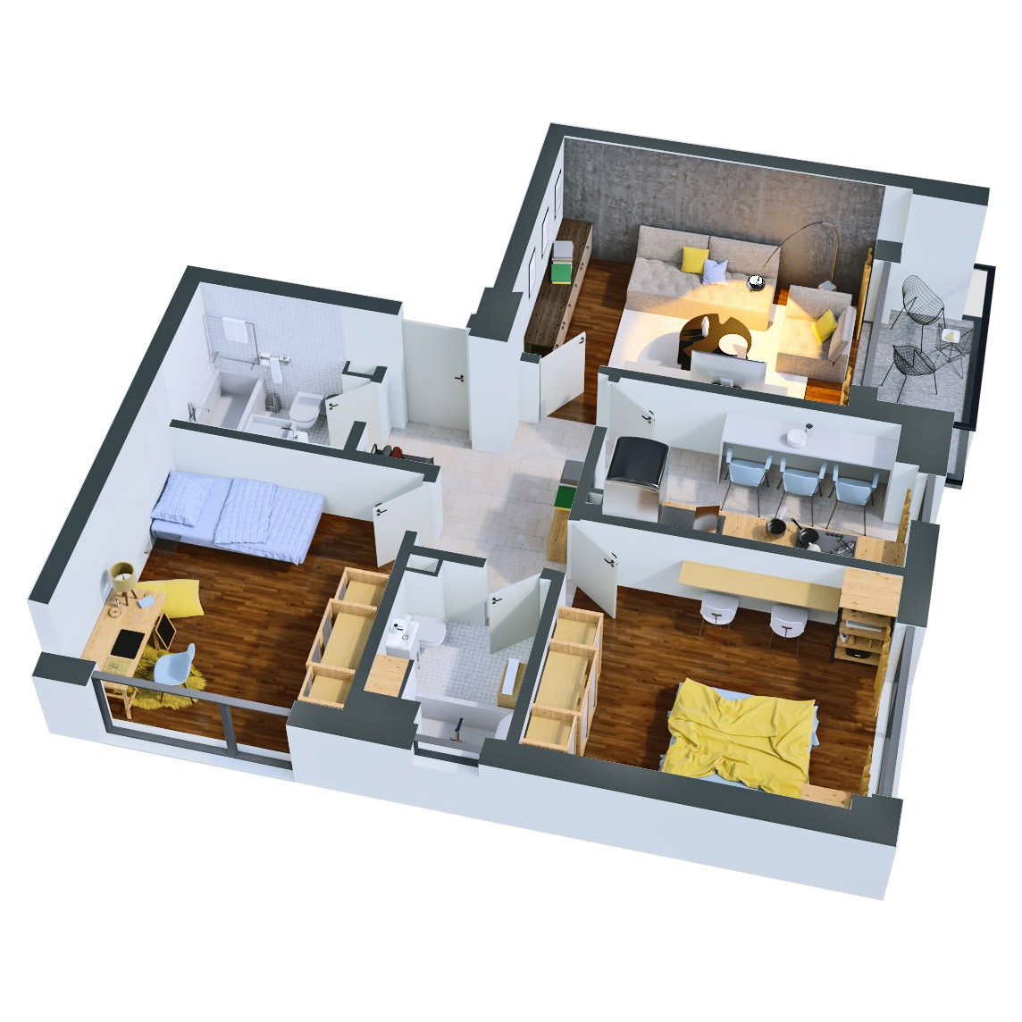 Apartament 3 camere de vanzare Bucuresti - Catedral Residence - Marriott, Piata Unirii, 13 Septembrie, Izvor - Tip 1 - T2 - B