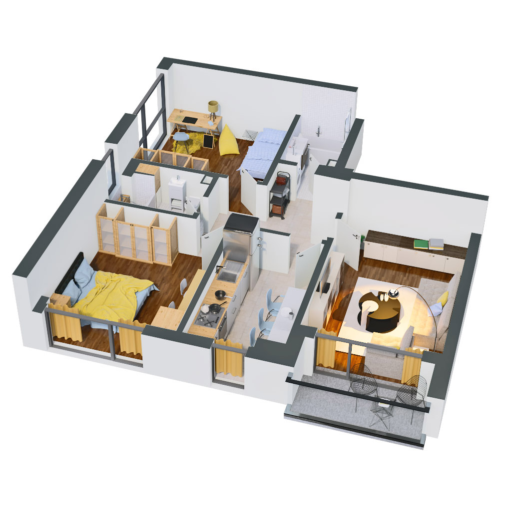 Apartament 3 camere de vanzare Bucuresti - Catedral Residence - Marriott, Piata Unirii, 13 Septembrie, Izvor - Tip 1 - T2 - C