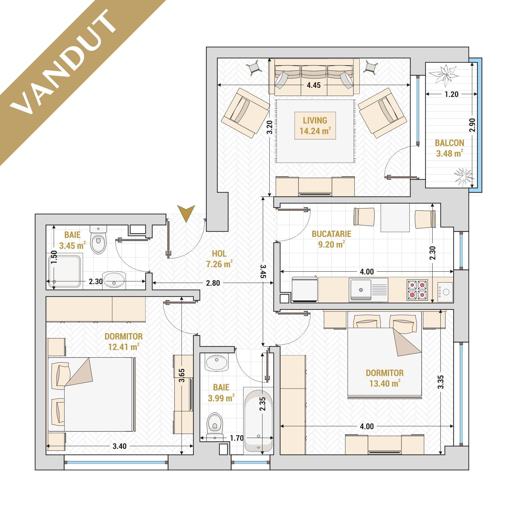 Apartament 3 camere de vanzare Bucuresti - Catedral Residence - Marriott, Piata Unirii, 13 Septembrie, Izvor - Tip 1 - T2