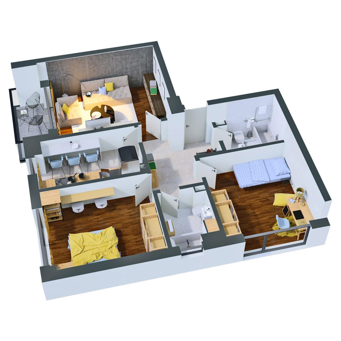 Apartament 3 camere de vanzare Bucuresti - Catedral Residence - Marriott, Piata Unirii, 13 Septembrie, Izvor - Tip 1 - T2A - B