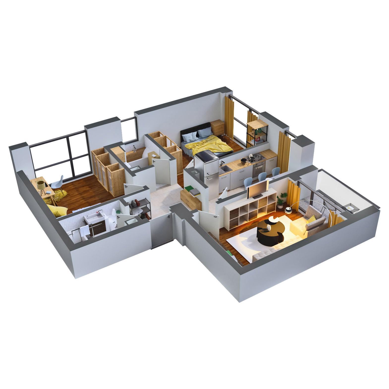 Apartament 3 camere de vanzare Bucuresti - Catedral Residence - Marriott, Piata Unirii, 13 Septembrie, Izvor - Tip 1 - T2A - D