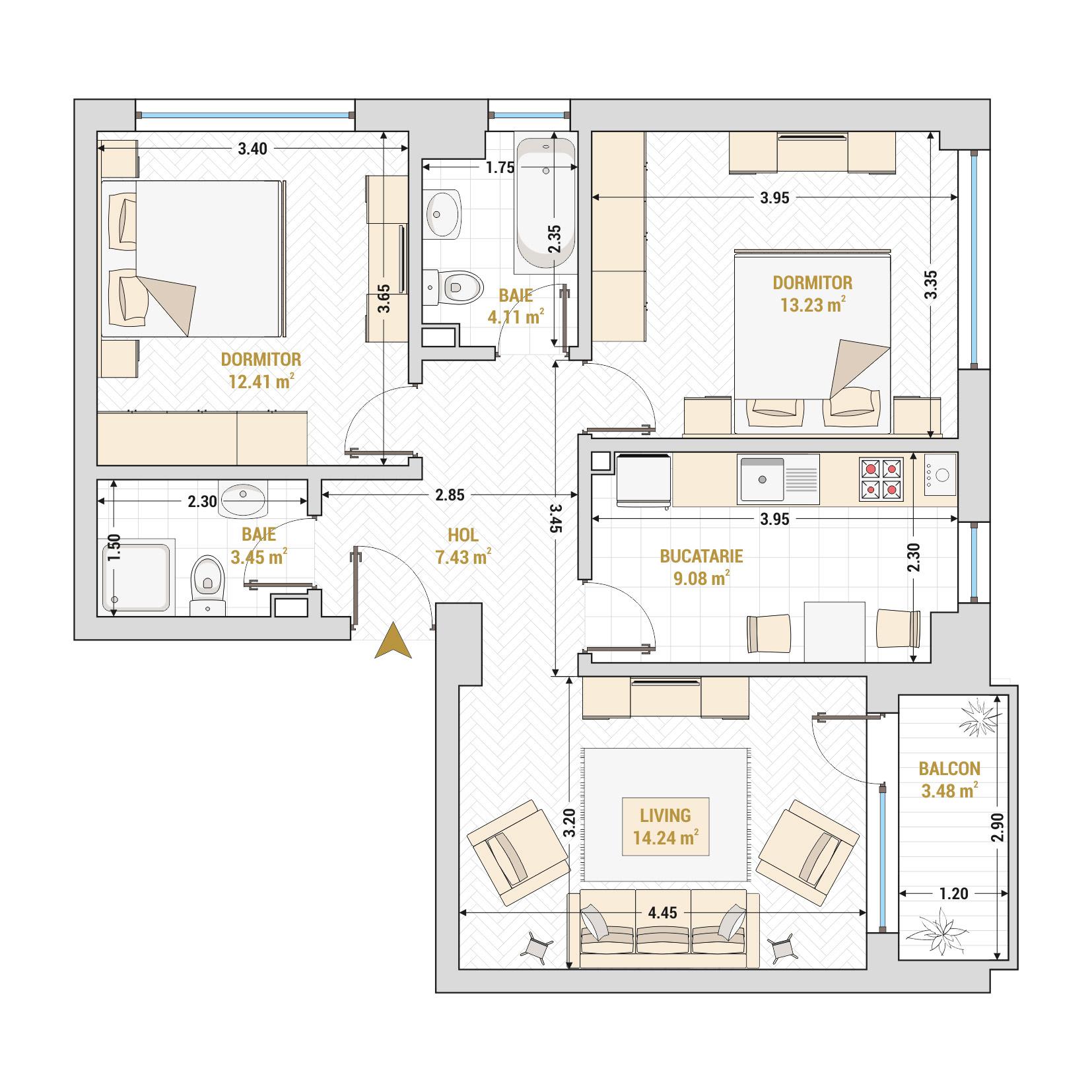 Apartament 3 camere de vanzare Bucuresti - Catedral Residence - Marriott, Piata Unirii, 13 Septembrie, Izvor - Tip 1 - T2A