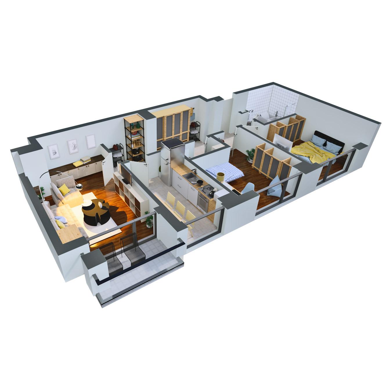 Apartament 3 camere de vanzare Bucuresti - Catedral Residence - Marriott, Piata Unirii, 13 Septembrie, Izvor - Tip 2 - T2 - B