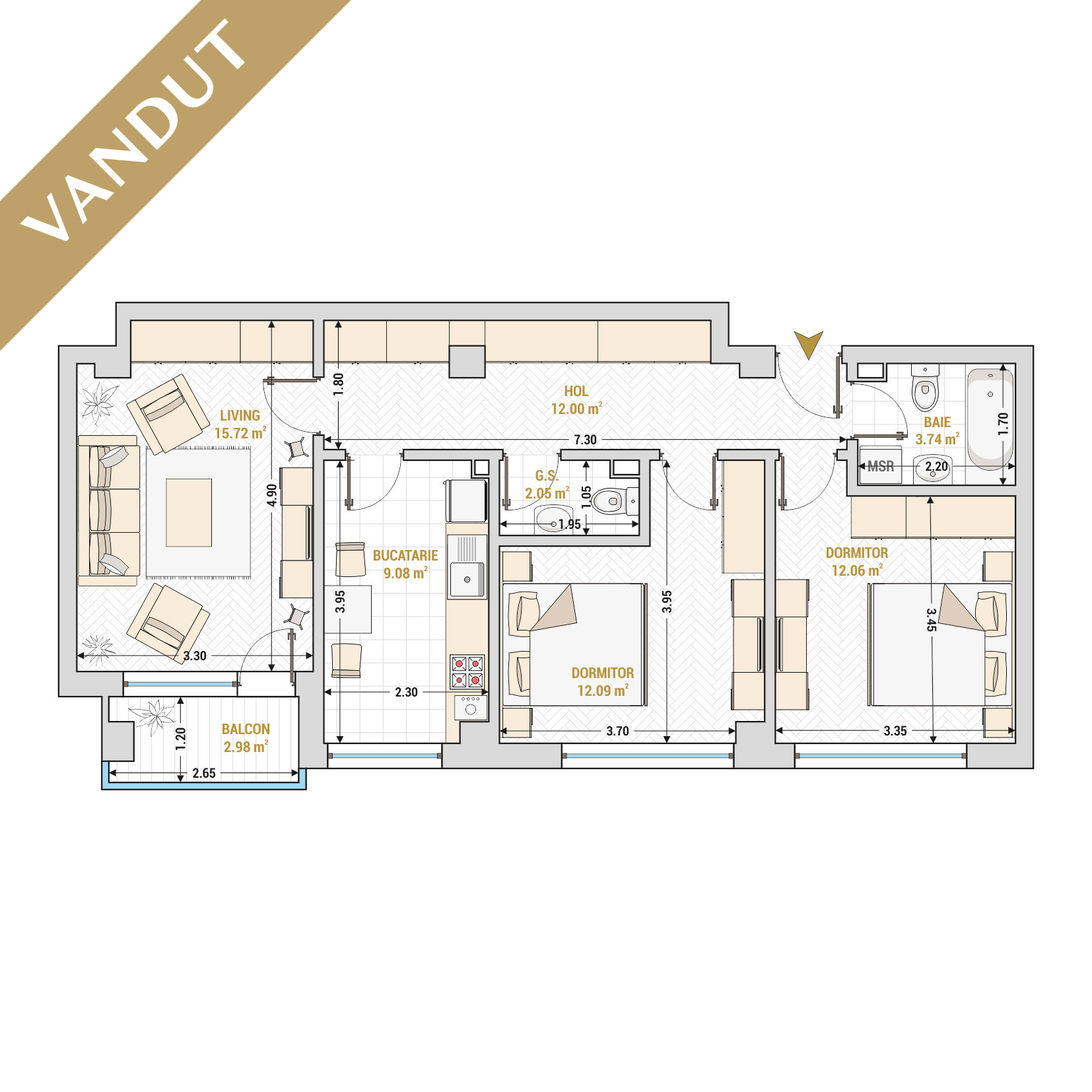 Apartament 3 camere de vanzare Bucuresti - Catedral Residence - Marriott, Piata Unirii, 13 Septembrie, Izvor - Tip 2 - T2 - V