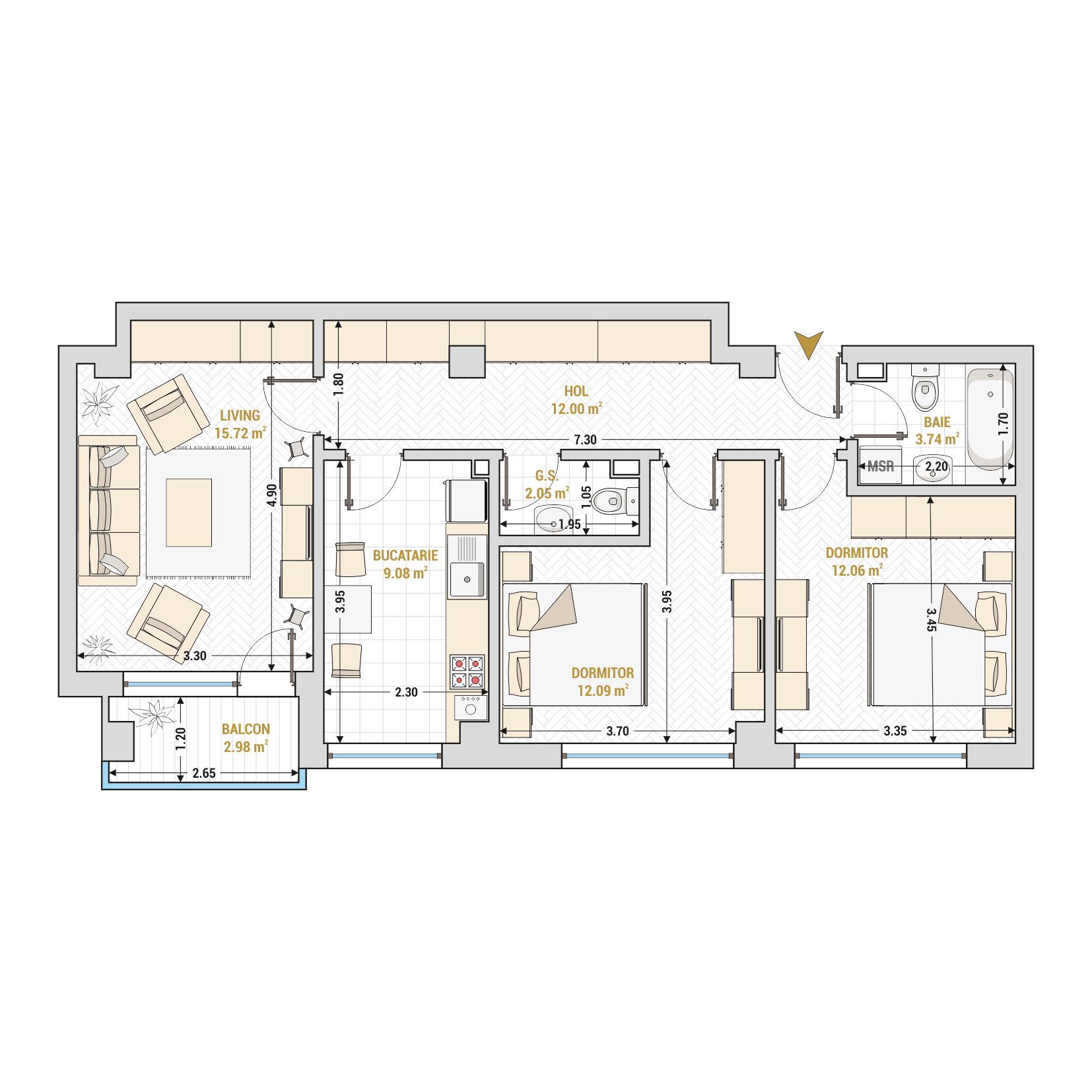 Apartament 3 camere de vanzare Bucuresti - Catedral Residence - Marriott, Piata Unirii, 13 Septembrie, Izvor - Tip 2 - T2