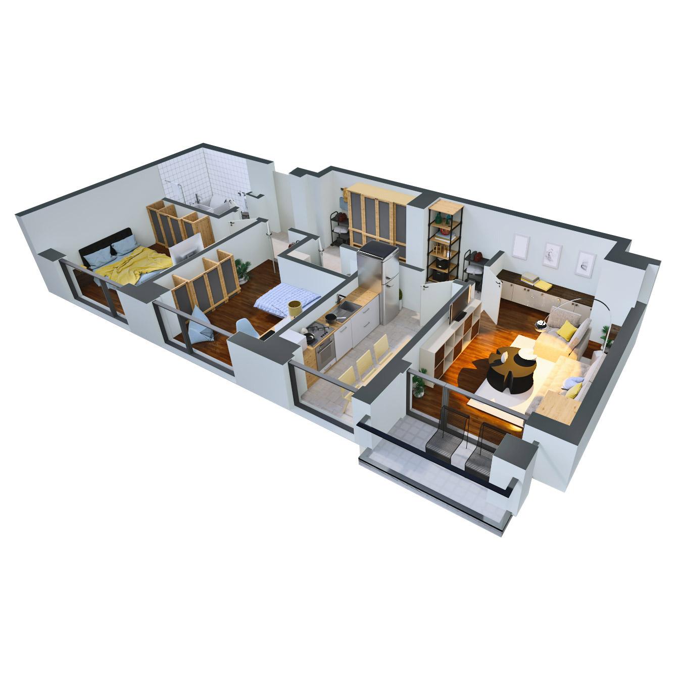 Apartament 3 camere de vanzare Bucuresti - Catedral Residence - Marriott, Piata Unirii, 13 Septembrie, Izvor - Tip 2 - T2A - B