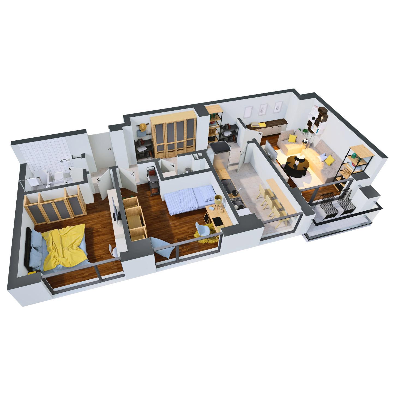 Apartament 3 camere de vanzare Bucuresti - Catedral Residence - Marriott, Piata Unirii, 13 Septembrie, Izvor - Tip 2 - T2A - C