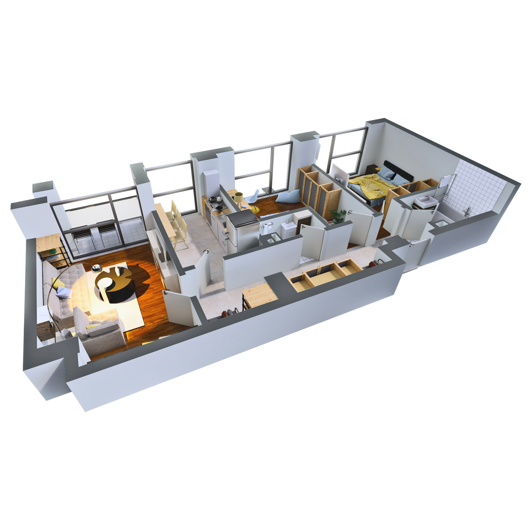 Apartament 3 camere de vanzare Bucuresti - Catedral Residence - Marriott, Piata Unirii, 13 Septembrie, Izvor - Tip 2 - T2A - D