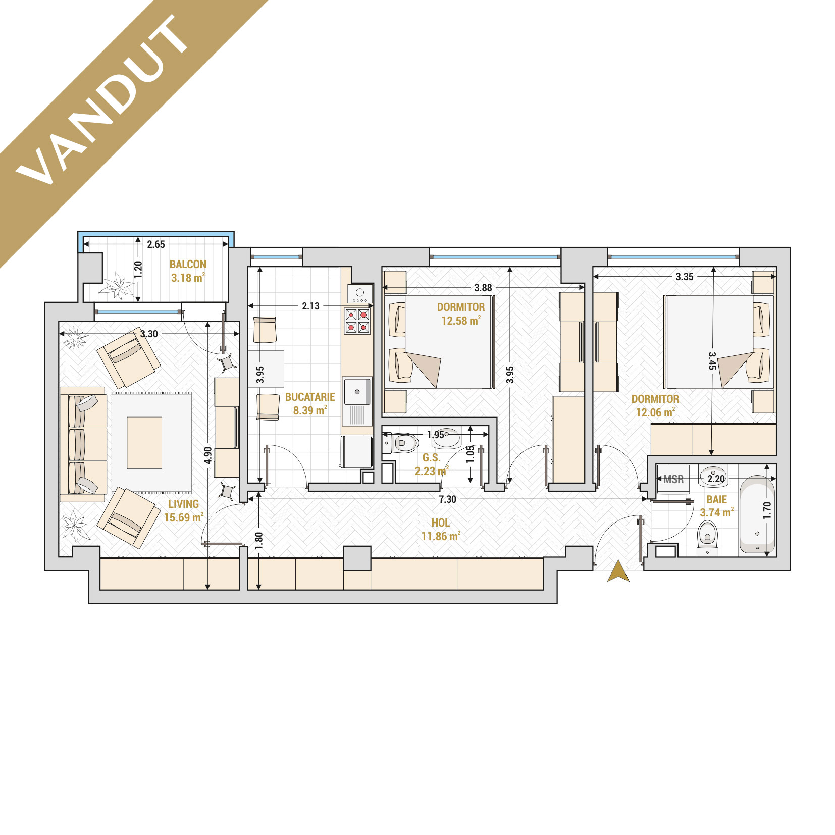 Apartament 3 camere de vanzare Bucuresti - Catedral Residence - Marriott, Piata Unirii, 13 Septembrie, Izvor - Tip 2 - T2A - V
