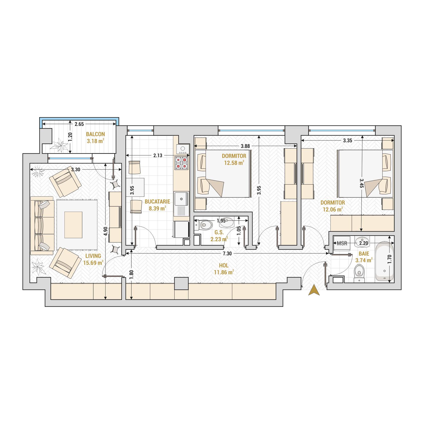 Apartament 3 camere de vanzare Bucuresti - Catedral Residence - Marriott, Piata Unirii, 13 Septembrie, Izvor - Tip 2 - T2A
