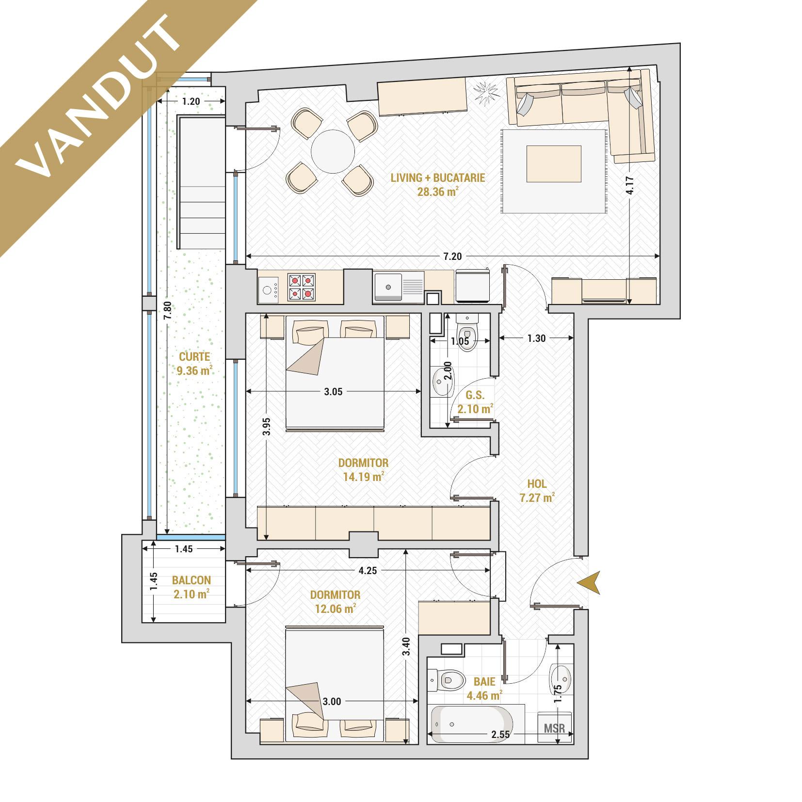 Apartament 3 camere de vanzare Bucuresti - Catedral Residence - Marriott, Piata Unirii, 13 Septembrie, Izvor - Tip 3 - T2 - S