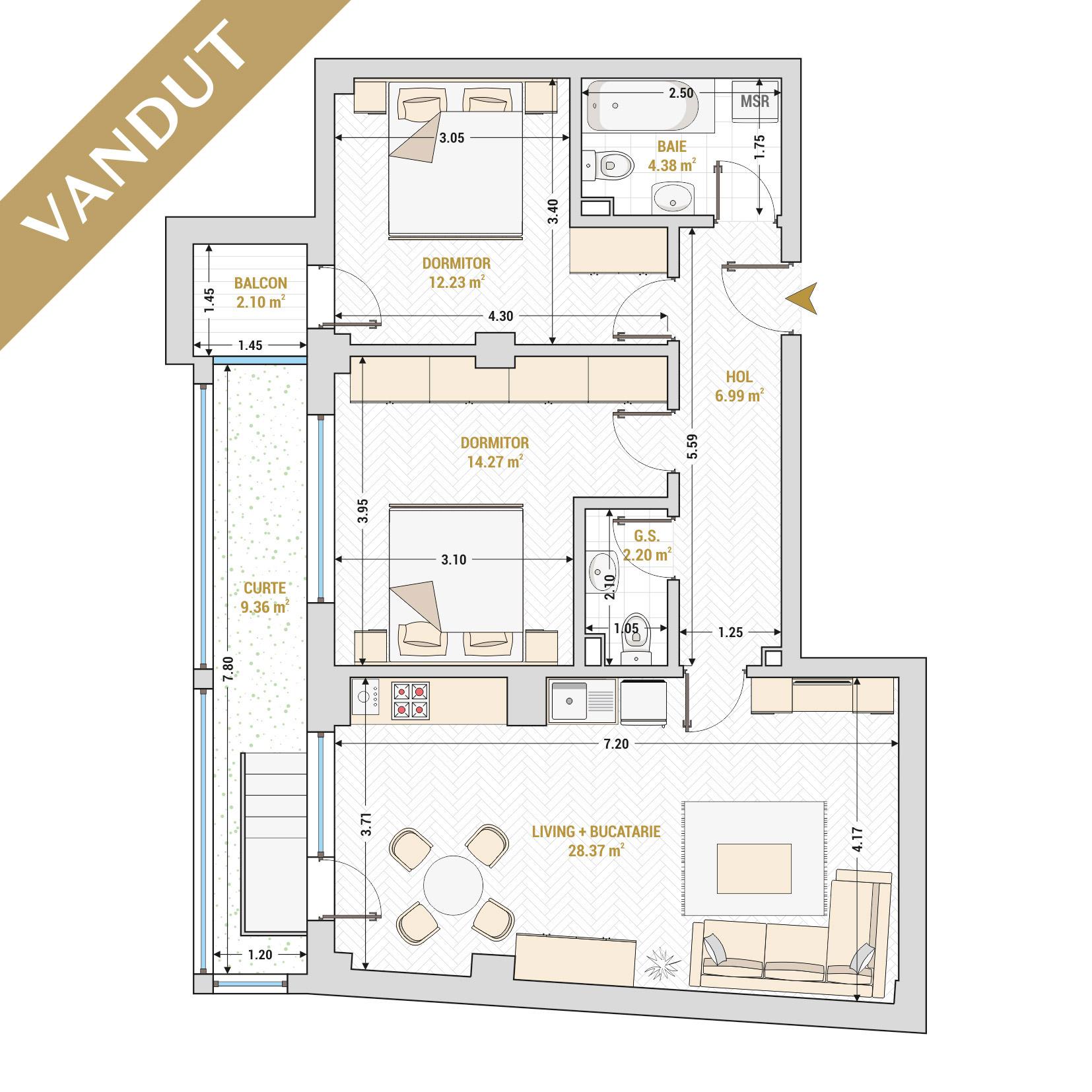 Apartament 3 camere de vanzare Bucuresti - Catedral Residence - Marriott, Piata Unirii, 13 Septembrie, Izvor - Tip 3 - T2A - VANDUT