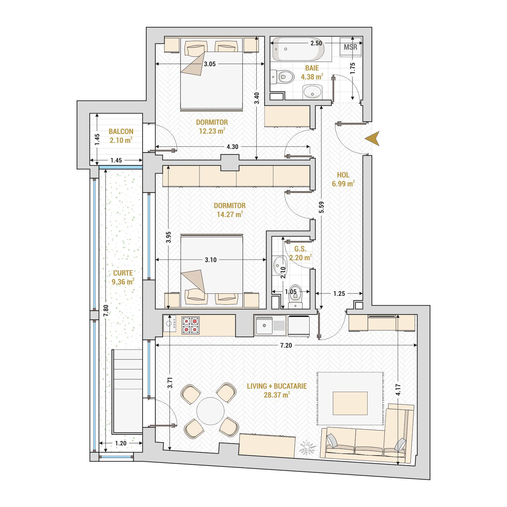 Apartament 3 camere de vanzare Bucuresti - Catedral Residence - Marriott, Piata Unirii, 13 Septembrie, Izvor - Tip 3 - T2A