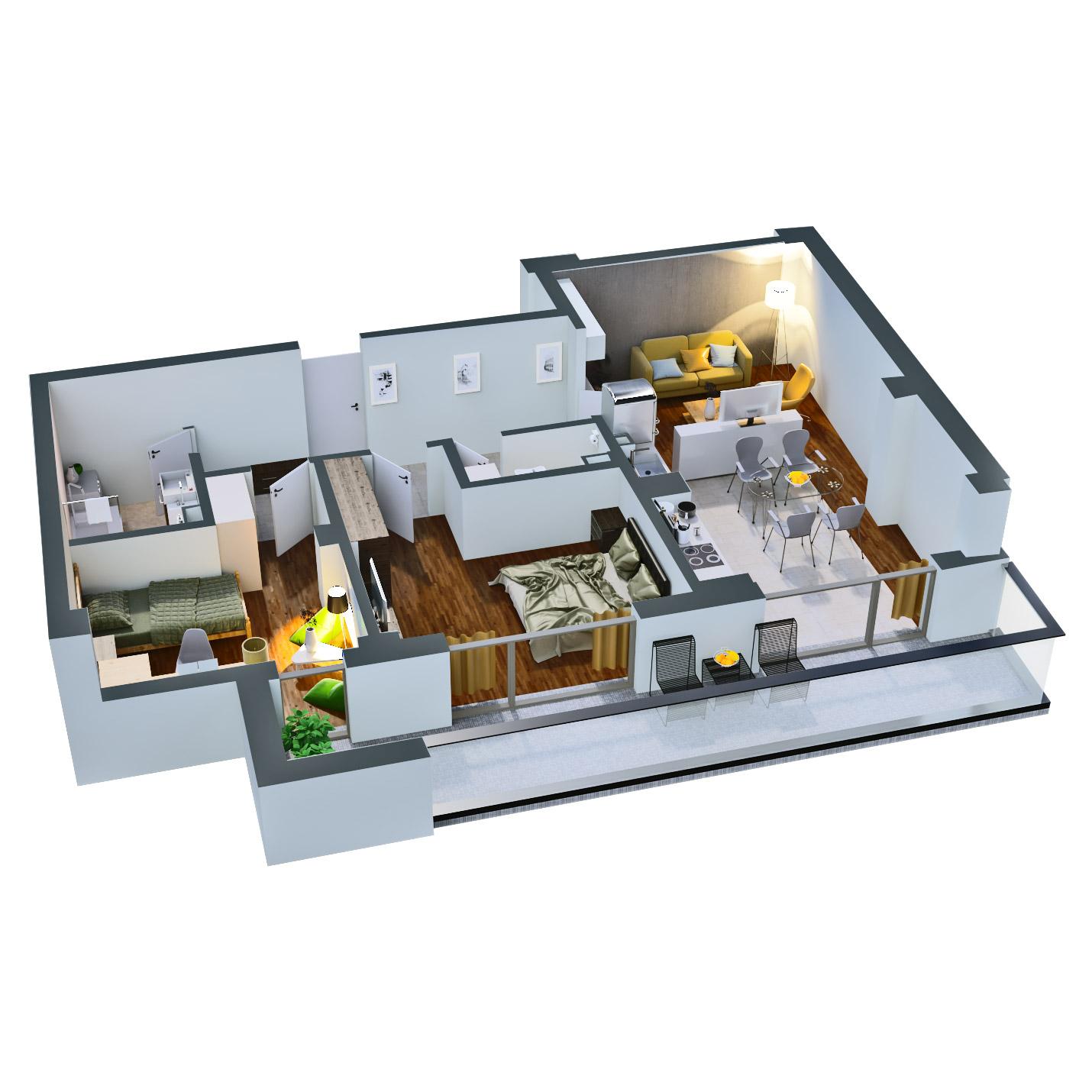 Apartament 3 camere de vanzare Bucuresti - Catedral Residence - Marriott, Piata Unirii, 13 Septembrie, Izvor - Tip 4 - T2 - D