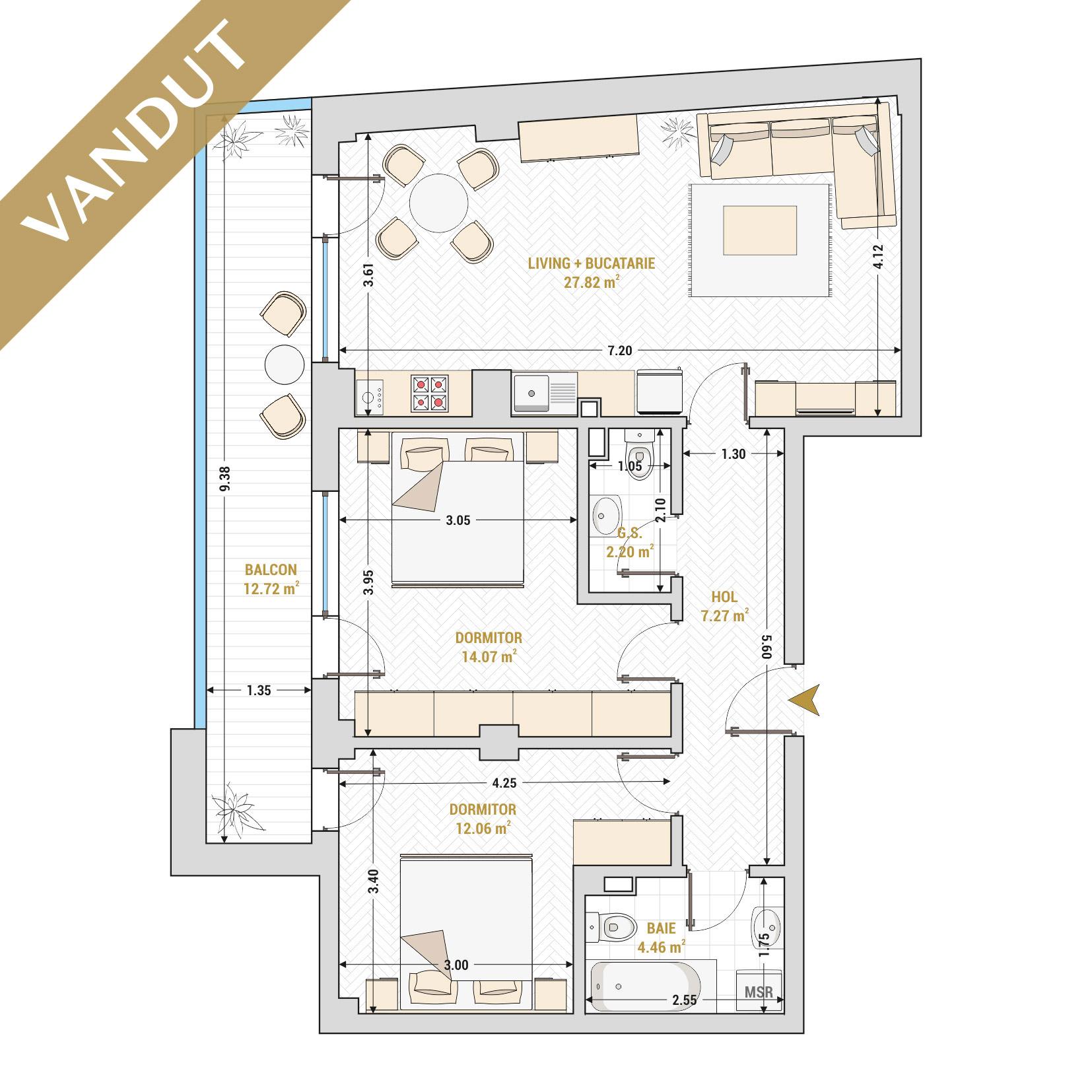 Apartament 3 camere de vanzare Bucuresti - Catedral Residence - Marriott, Piata Unirii, 13 Septembrie, Izvor - Tip 4 - T2 - V