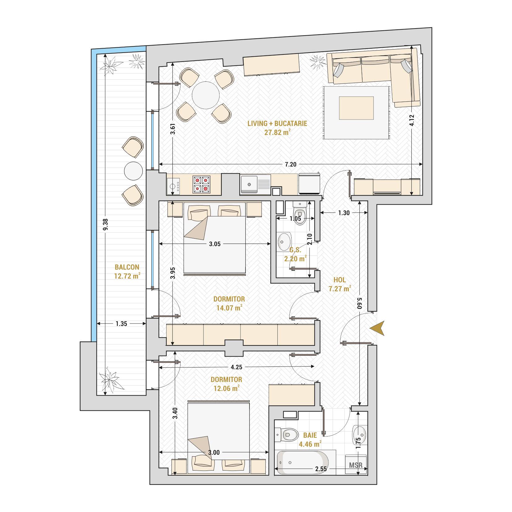 Apartament 3 camere de vanzare Bucuresti - Catedral Residence - Marriott, Piata Unirii, 13 Septembrie, Izvor - Tip 4 - T2