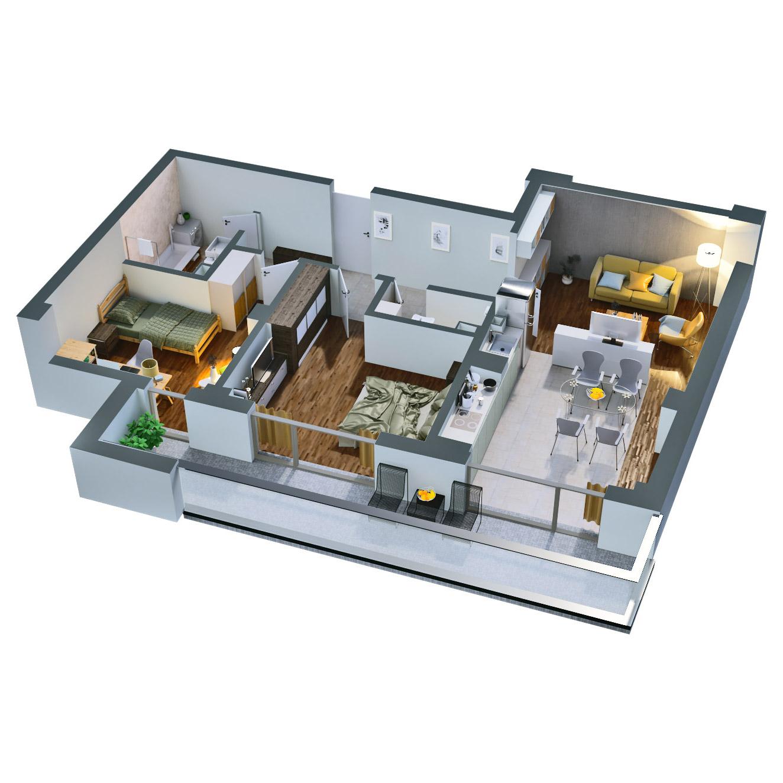 Apartament 3 camere de vanzare Bucuresti - Catedral Residence - Marriott, Piata Unirii, 13 Septembrie, Izvor - Tip 4 - T2A - B