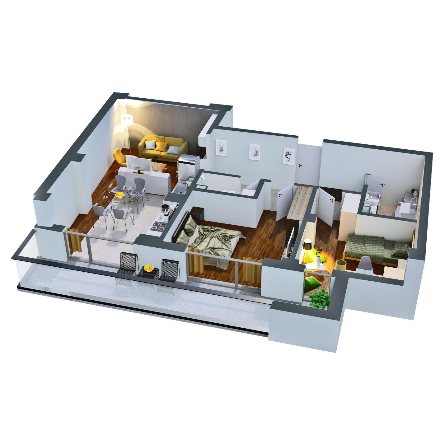 Apartament 3 camere de vanzare Bucuresti - Catedral Residence - Marriott, Piata Unirii, 13 Septembrie, Izvor - Tip 4 - T2A - D