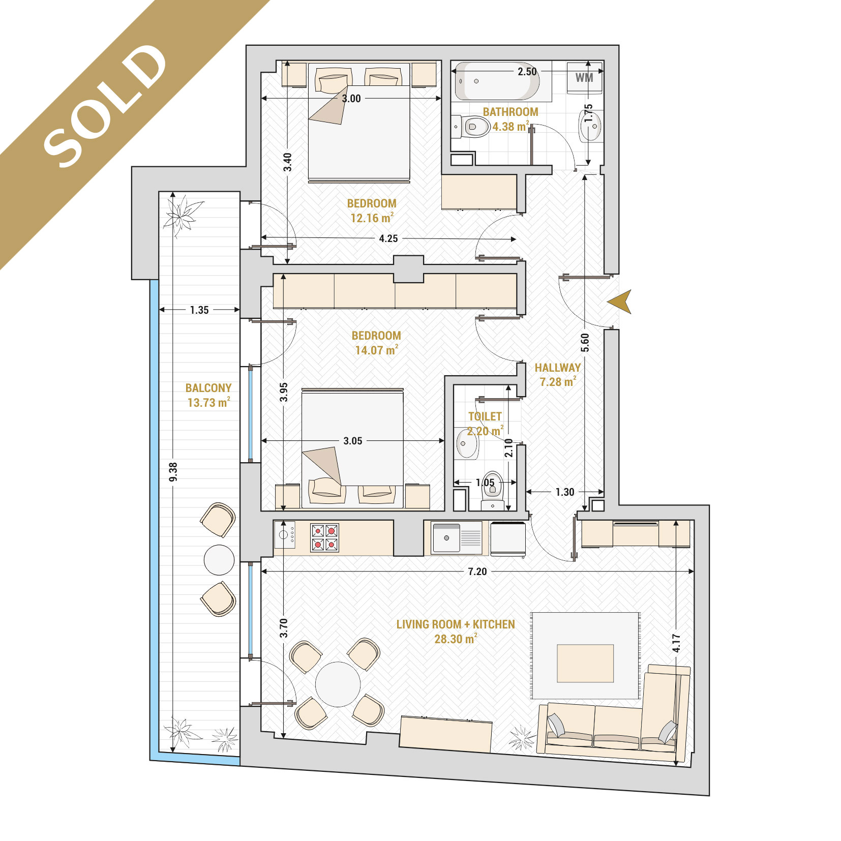 Catedral Residence - 3 Room Apartment for Sale - Bucharest - Romania - Type 4 – S2A - SOLD