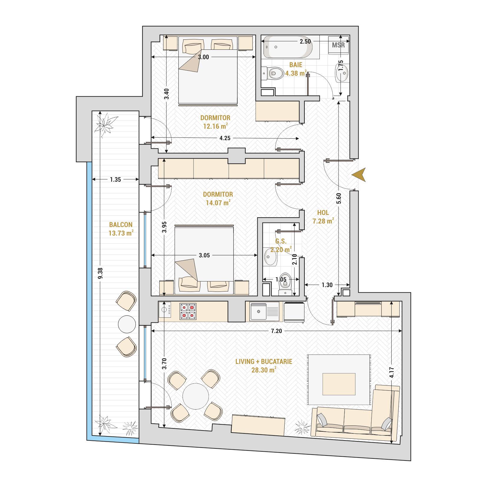 Apartament 3 camere de vanzare Bucuresti - Catedral Residence - Marriott, Piata Unirii, 13 Septembrie, Izvor - Tip 4 - T2A
