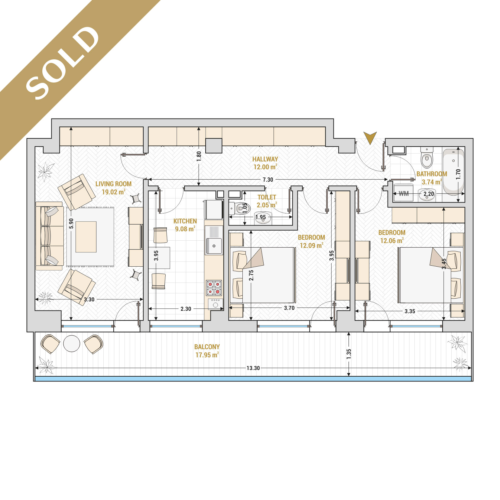 Catedral Residence - 3 Room Apartment for Sale - Bucharest - Romania - Type 5 – S2 - SOLD