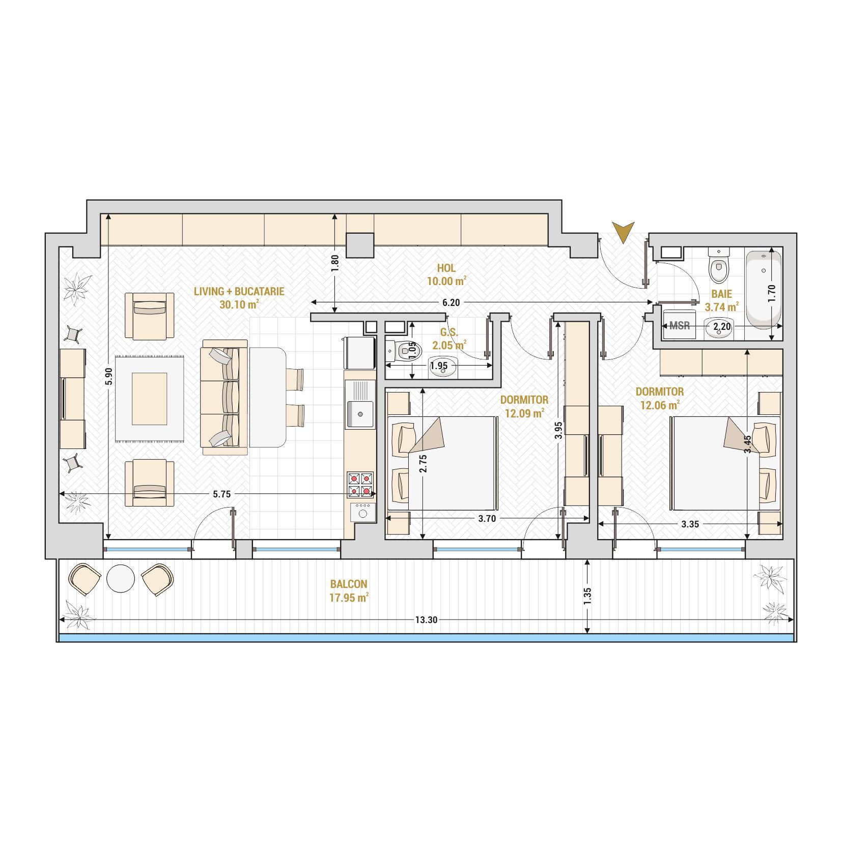 Apartament 3 camere de vanzare Bucuresti - Catedral Residence - Marriott, Piata Unirii, 13 Septembrie, Izvor - Tip 5 - T2 - Open Space