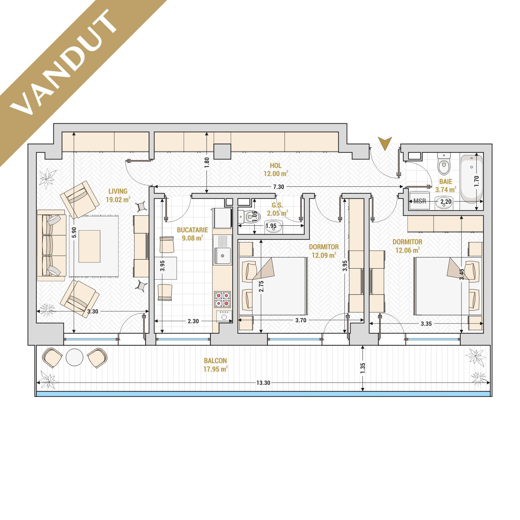 Apartament 3 camere de vanzare Bucuresti - Catedral Residence - Marriott, Piata Unirii, 13 Septembrie, Izvor - Tip 5 - T2 - VANDUT