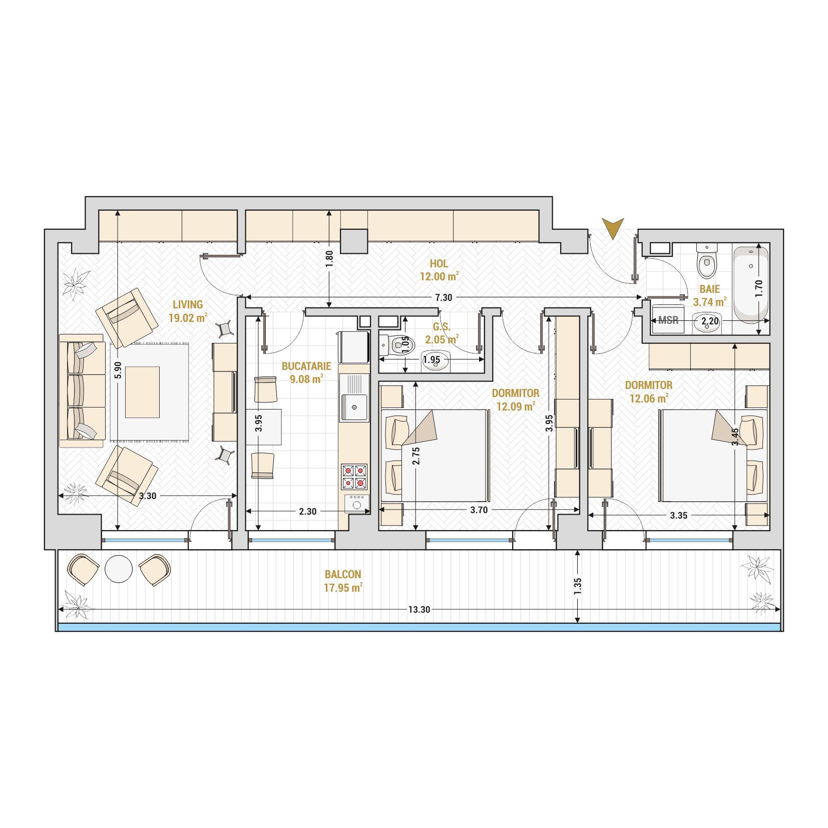 Apartament 3 camere de vanzare Bucuresti - Catedral Residence - Marriott, Piata Unirii, 13 Septembrie, Izvor - Tip 5 - T2
