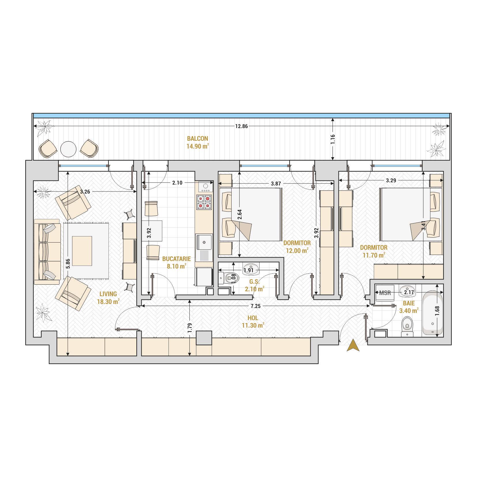 Apartamente cu 3 camere Bucuresti - Catedral Residence - Marriott, Piata Unirii, 13 Septembrie, Izvor - Suprafata utila totala - 81.80metri patrati