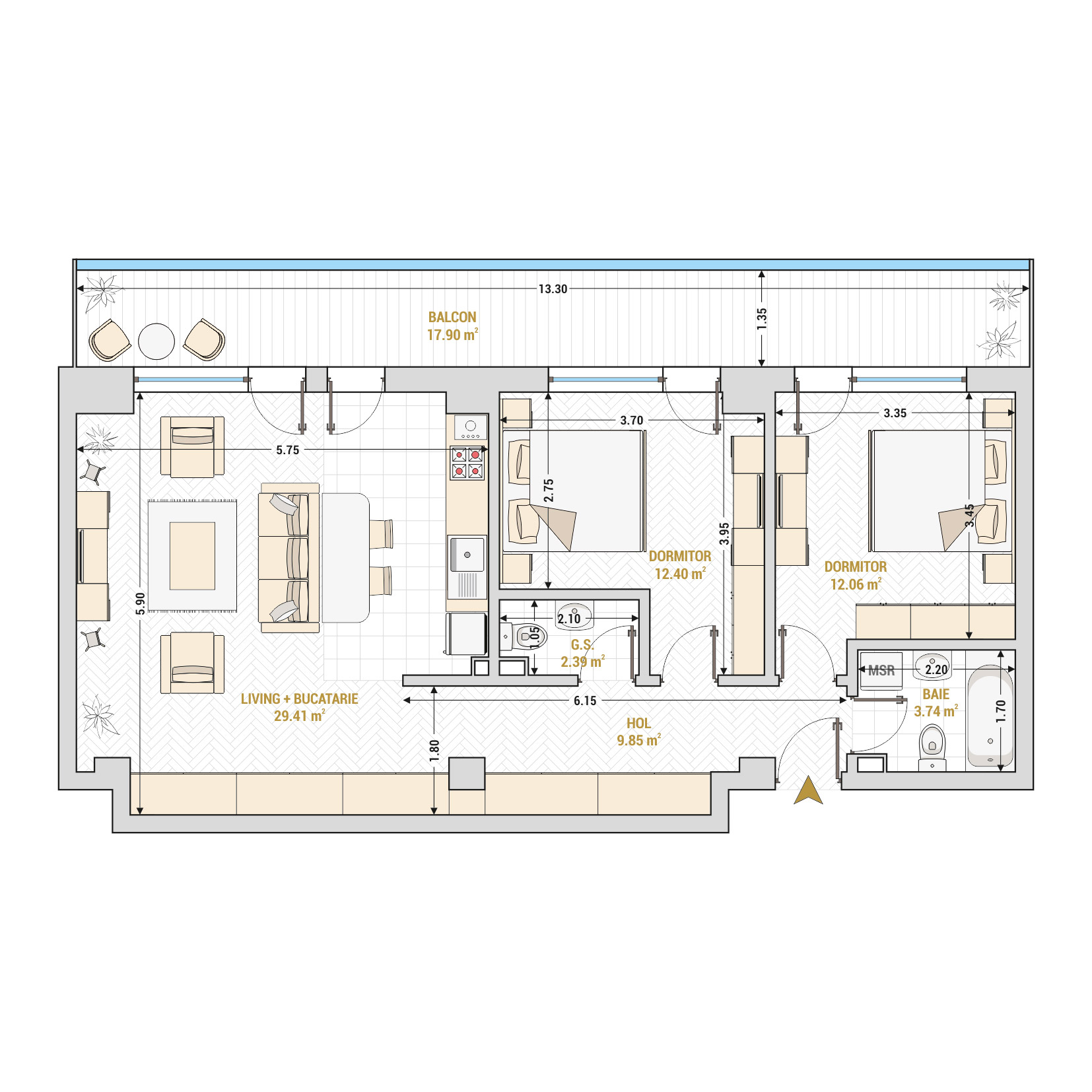 Apartament 3 camere de vanzare Bucuresti - Catedral Residence - Marriott, Piata Unirii, 13 Septembrie, Izvor - Tip 5 - T2A - Open Space